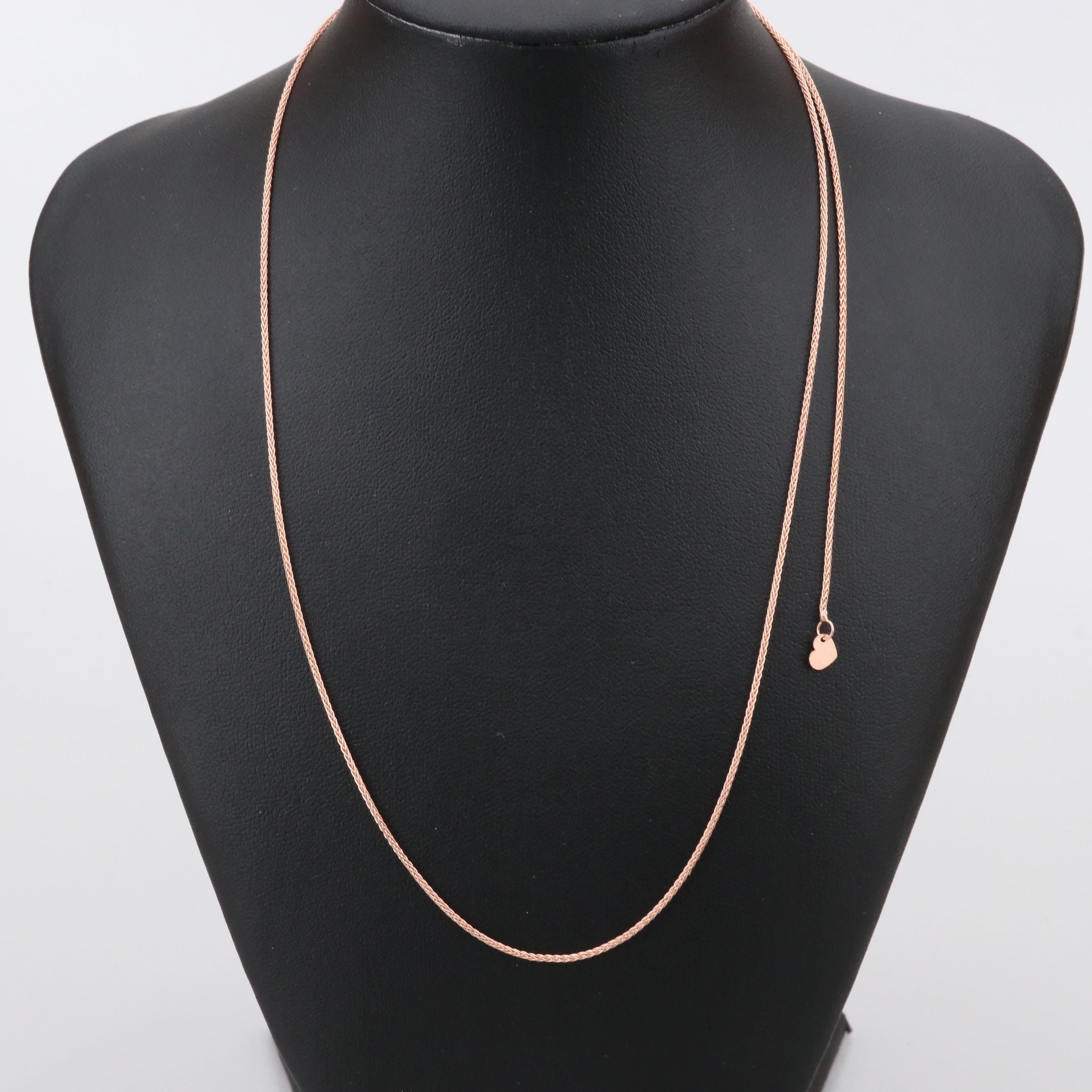 14K Rose Gold Wheat Chain Link Necklace