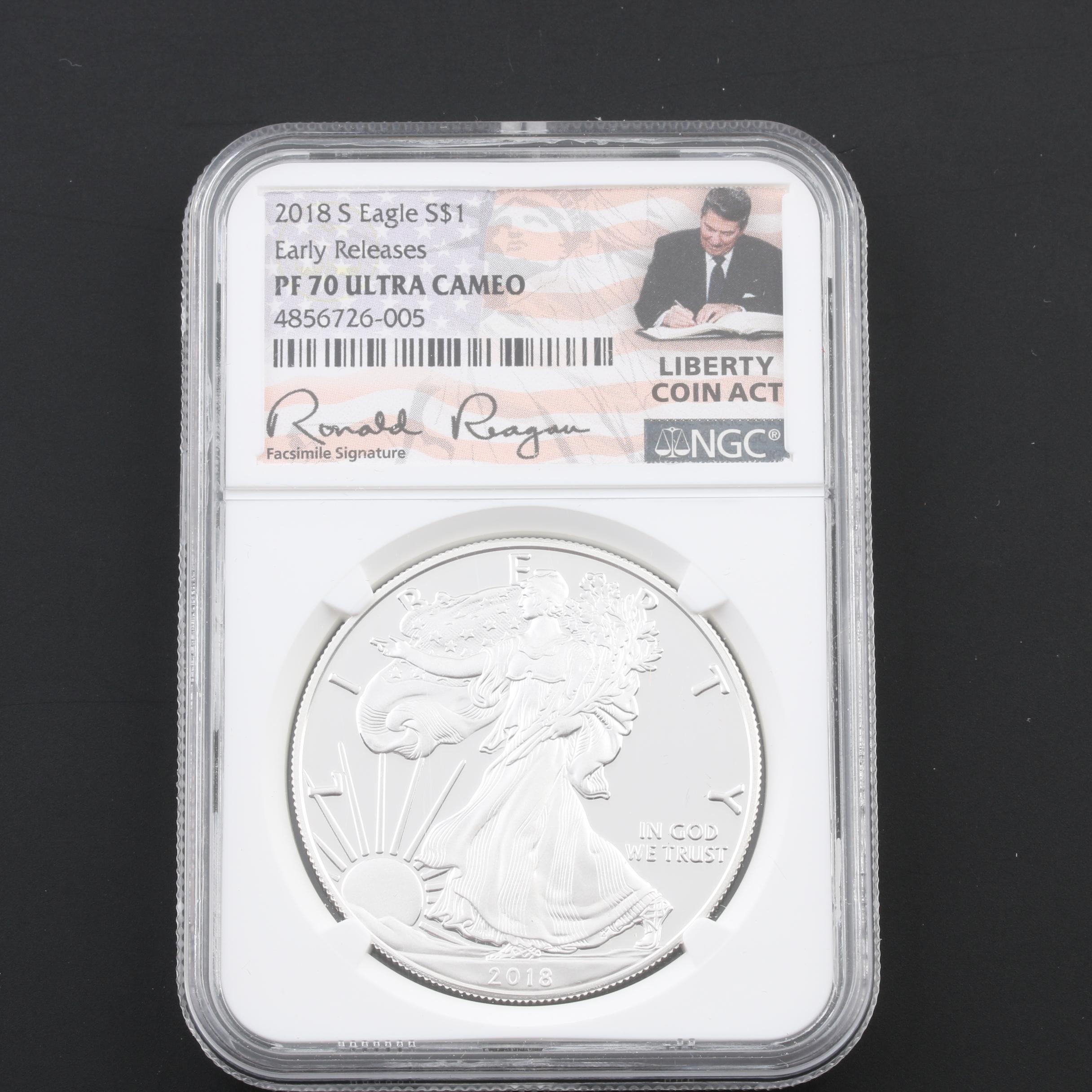 NGC Graded PF70 Ultra Cameo 2018-S $1 U.S. Silver Eagle
