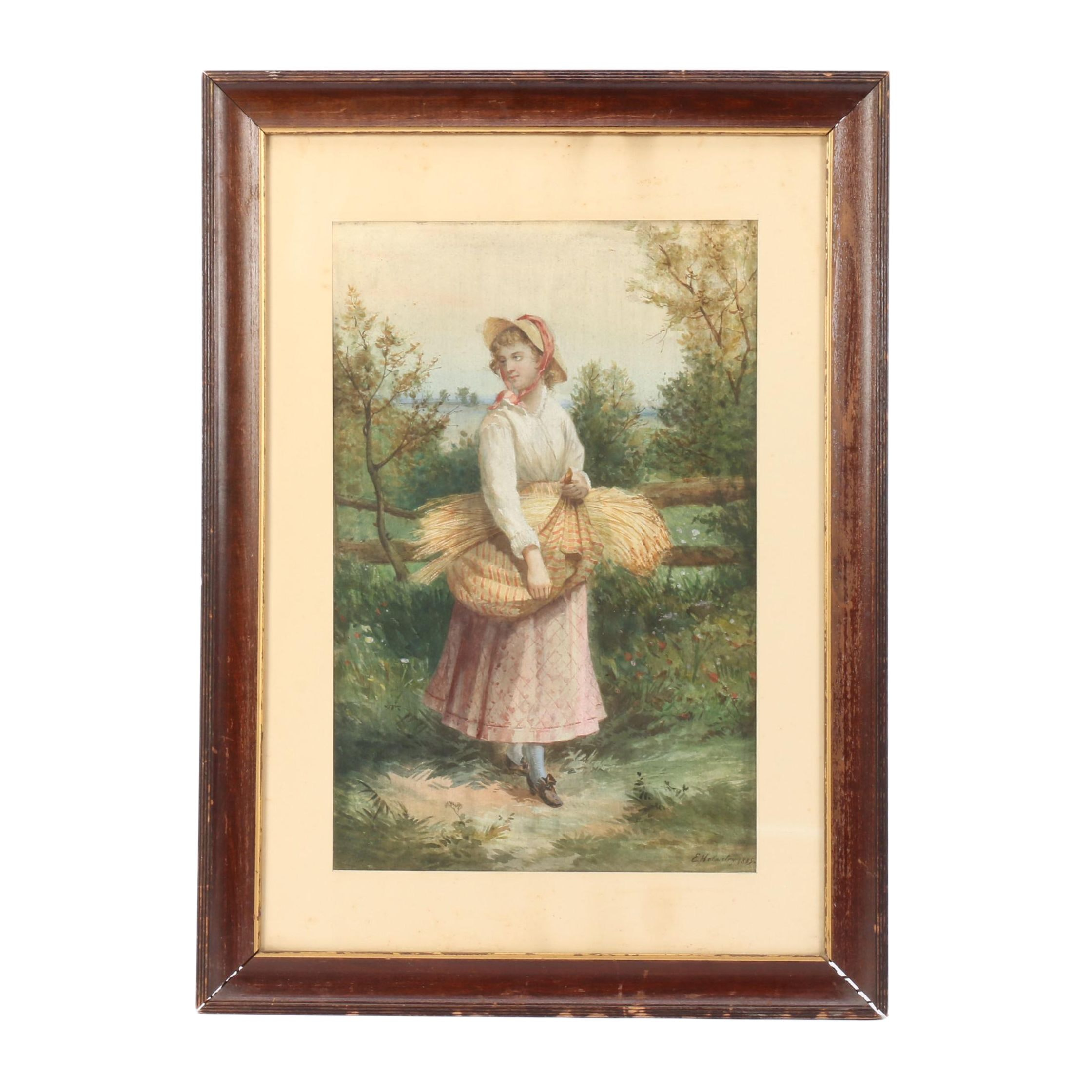 E. Helmsley 1885 Watercolor Painting of Woman with a Bundle of Wheat