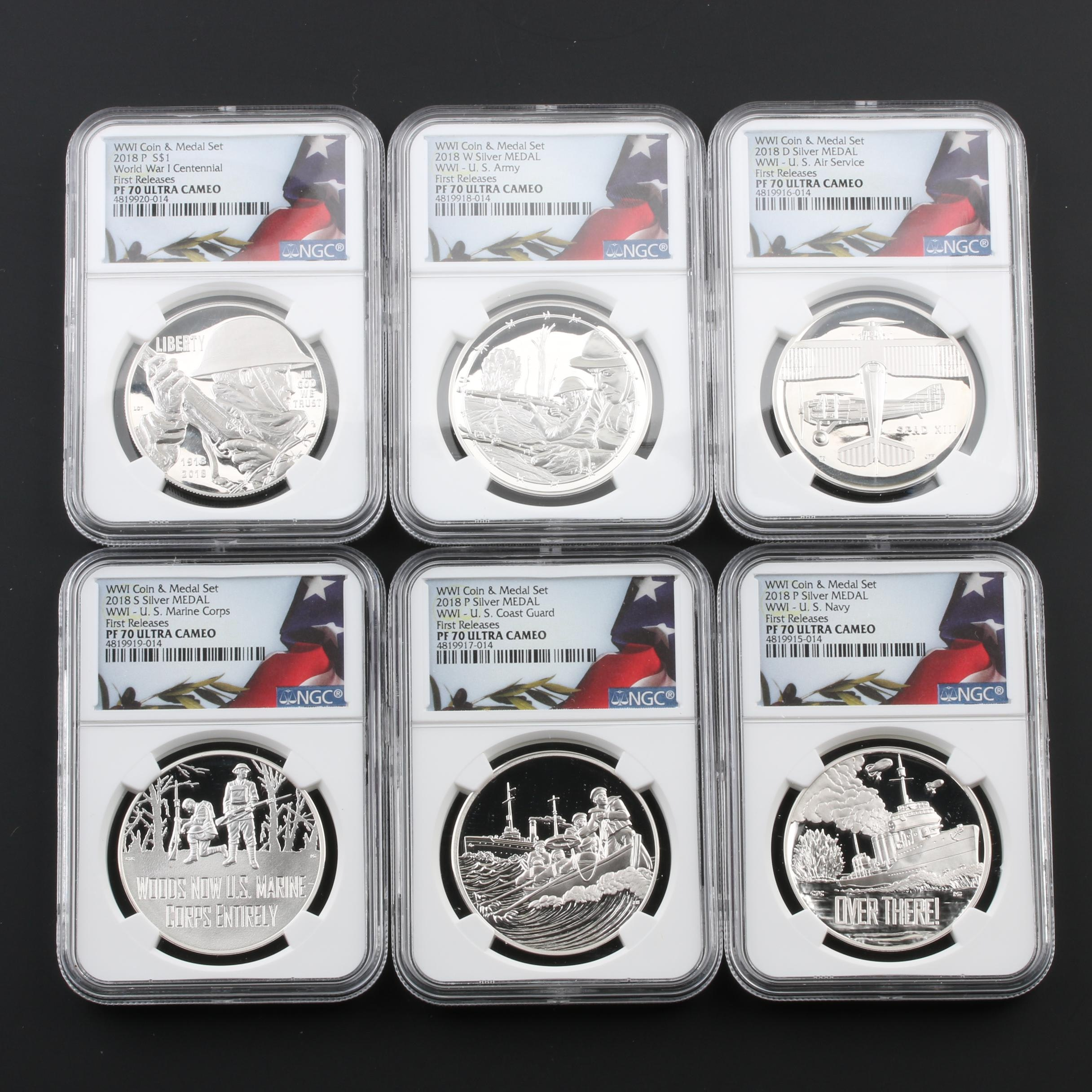 NGC Graded PF70 Ultra Cameo 2018 WWI Silver Coin and Medal set