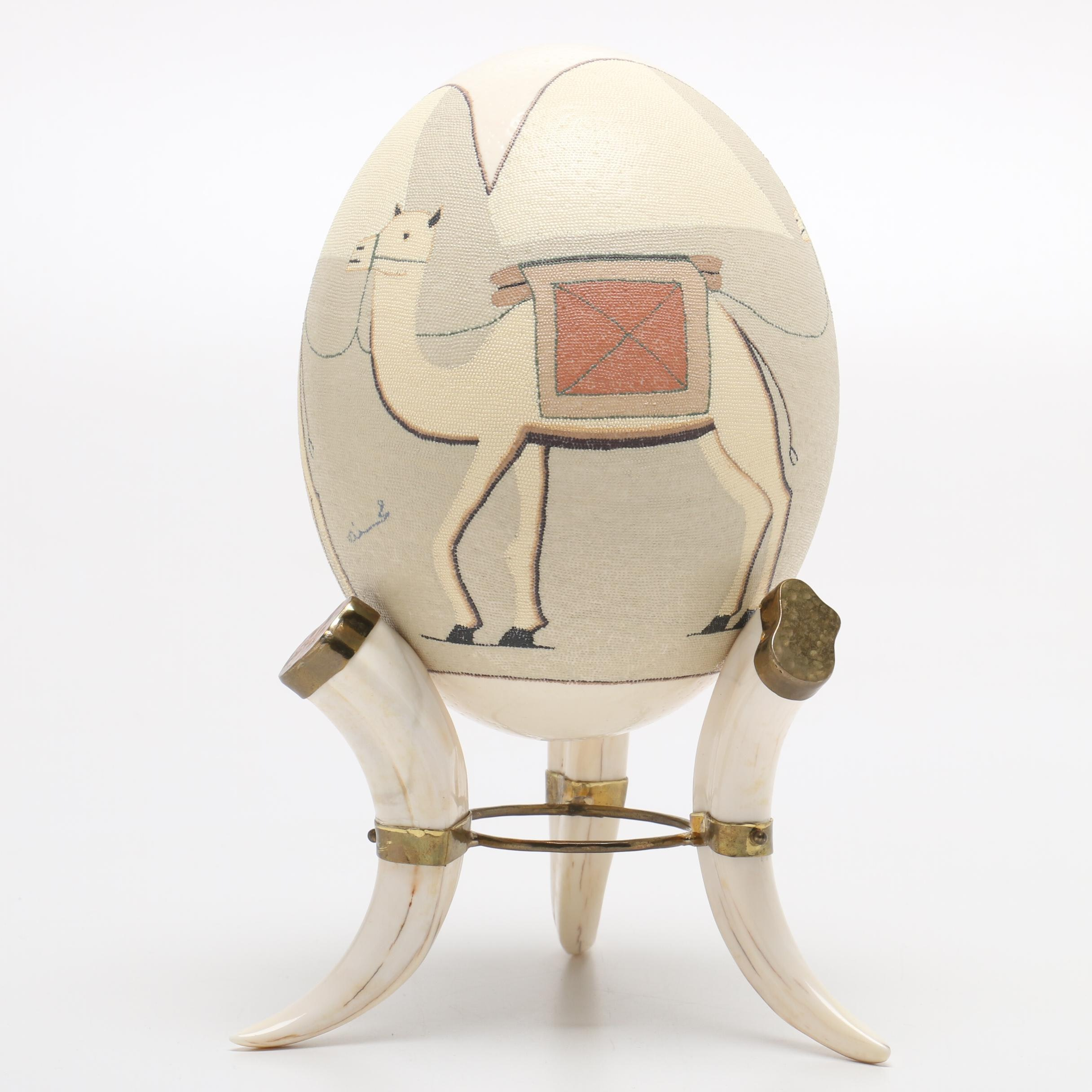 Hand-Painted and Signed Ostrich Egg with Tusk Stand