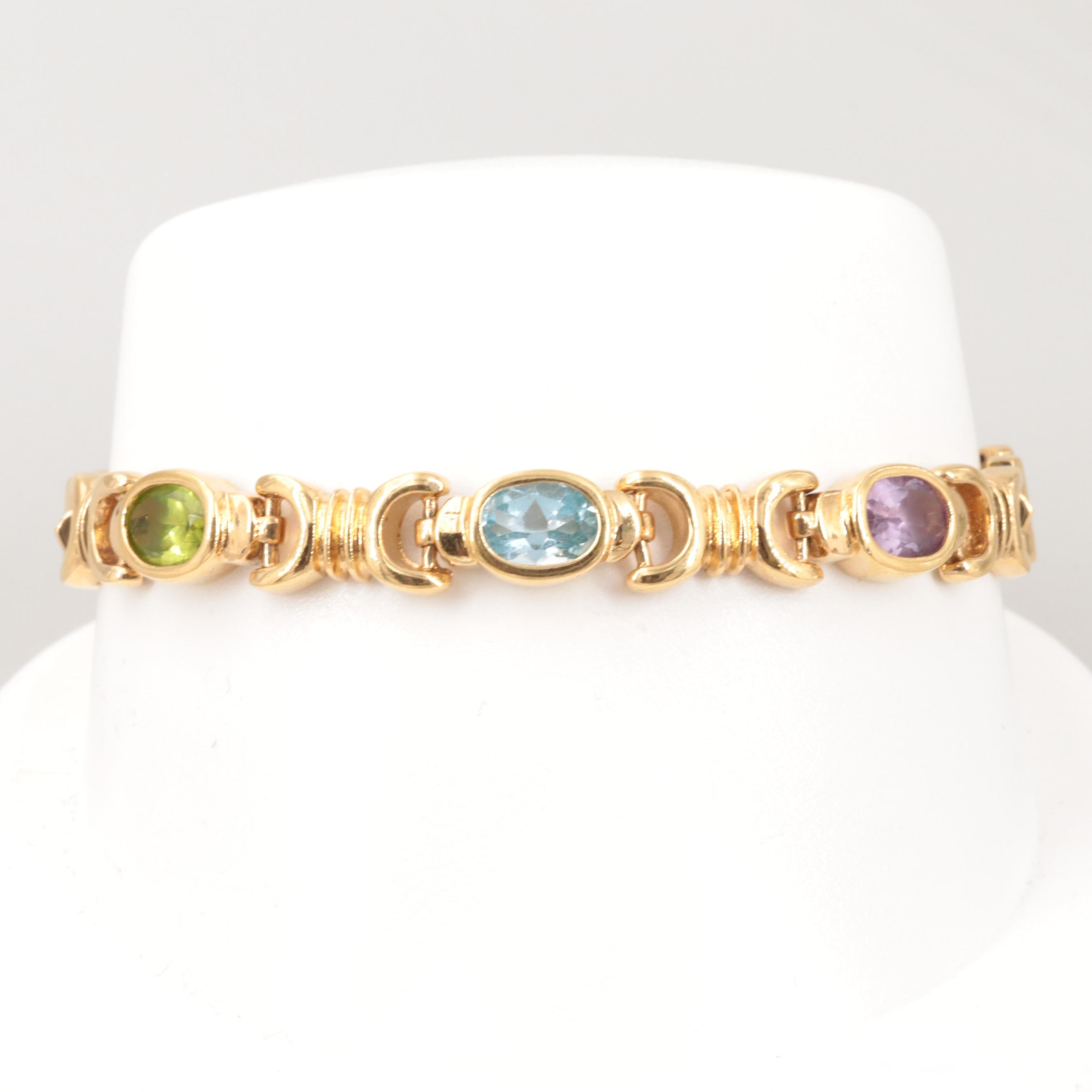 Gold Wash on Sterling Silver Peridot, Topaz and Amethyst Stampato Bracelet