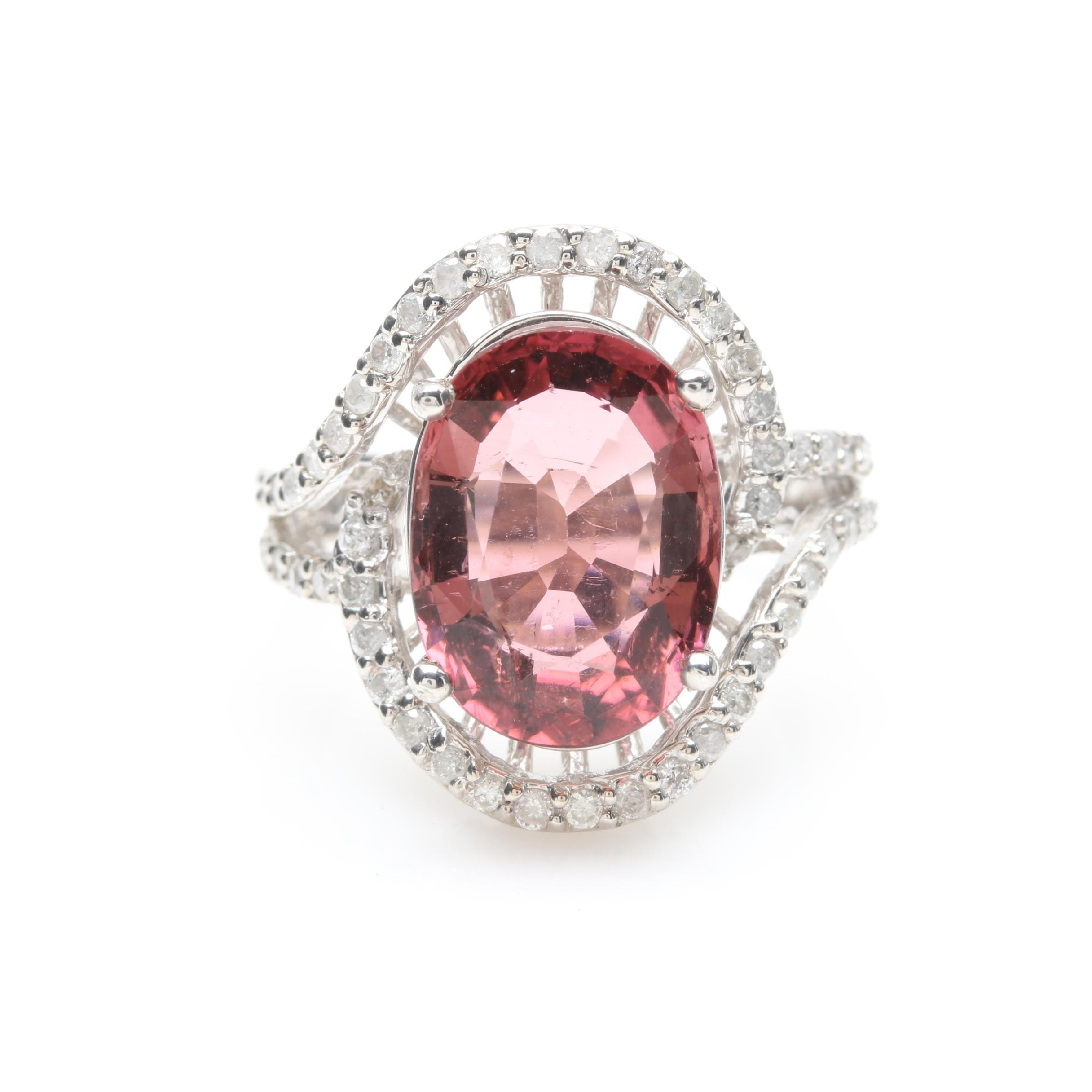 14K White Gold 4.05 CT Pink Tourmaline and Diamond Ring