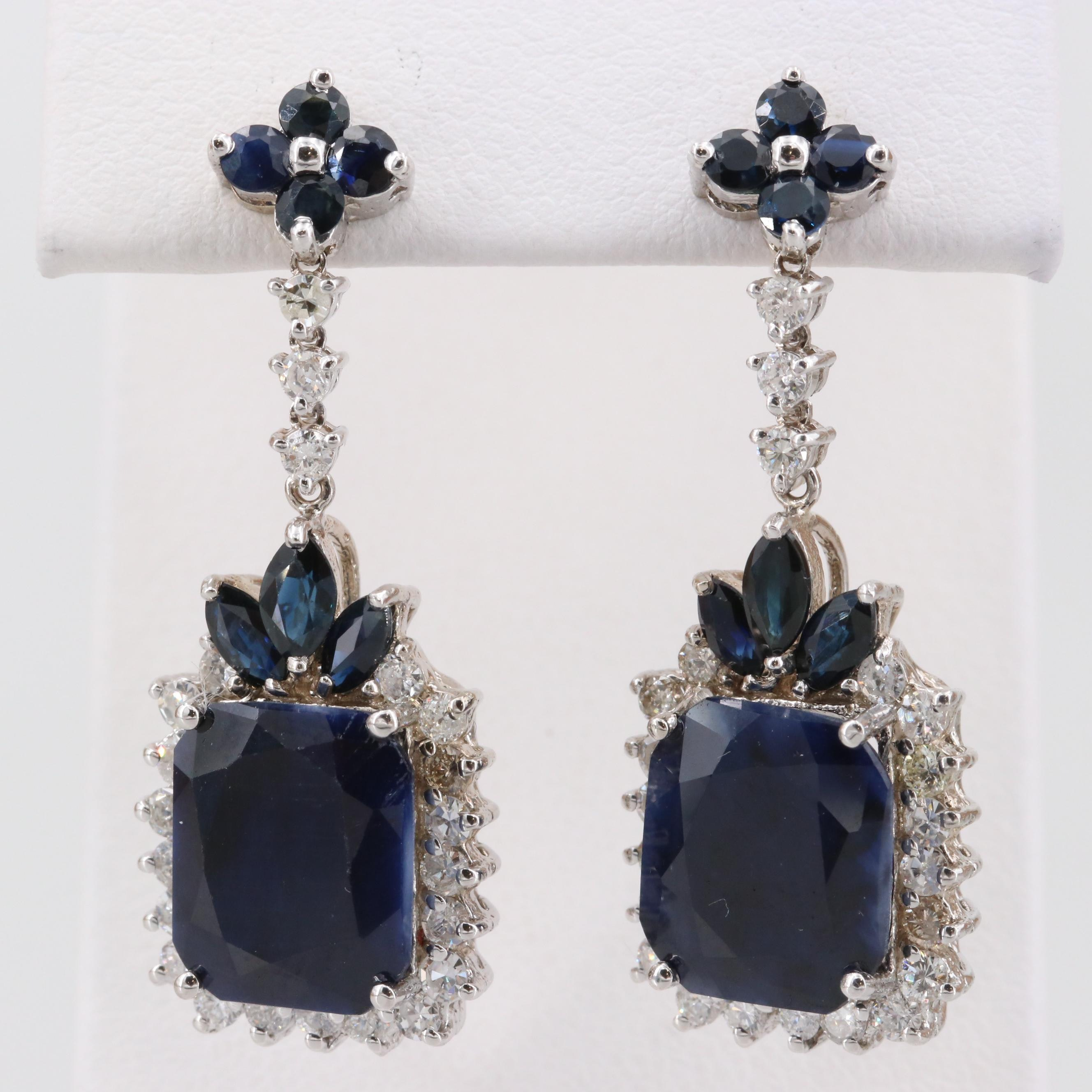14K White Gold Corundum, Blue Sapphire and 1.32 CTW Diamond Dangle Earrings