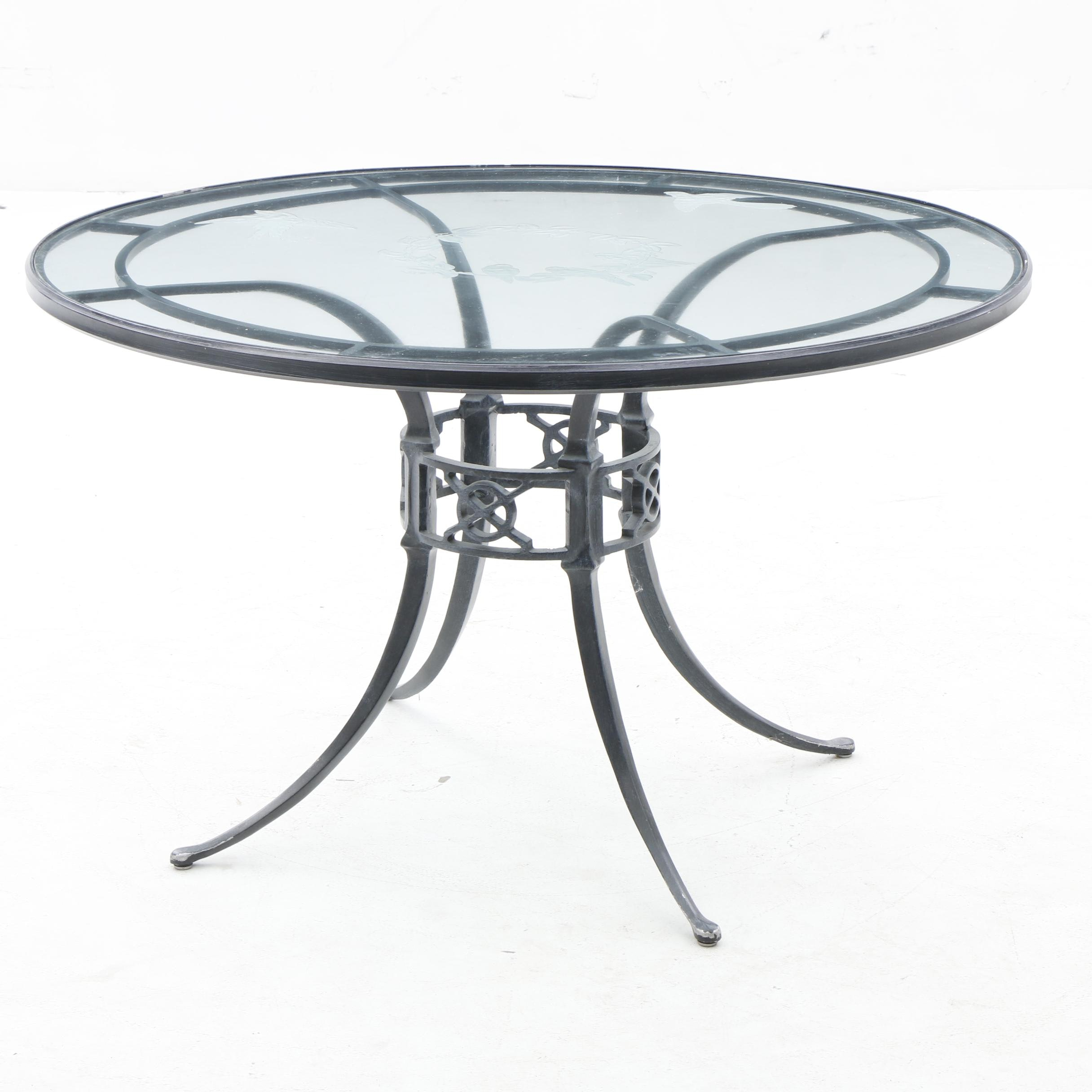 Etched Glass Top Metal Outdoor Table