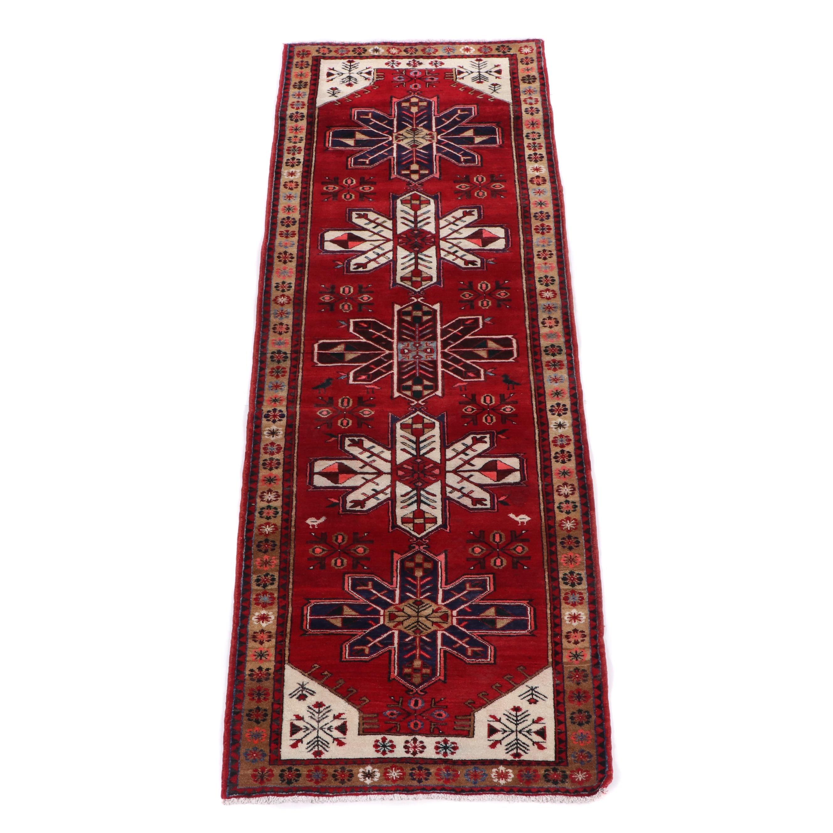Hand-Knotted Caucasian Karabagh Wool Carpet Runner