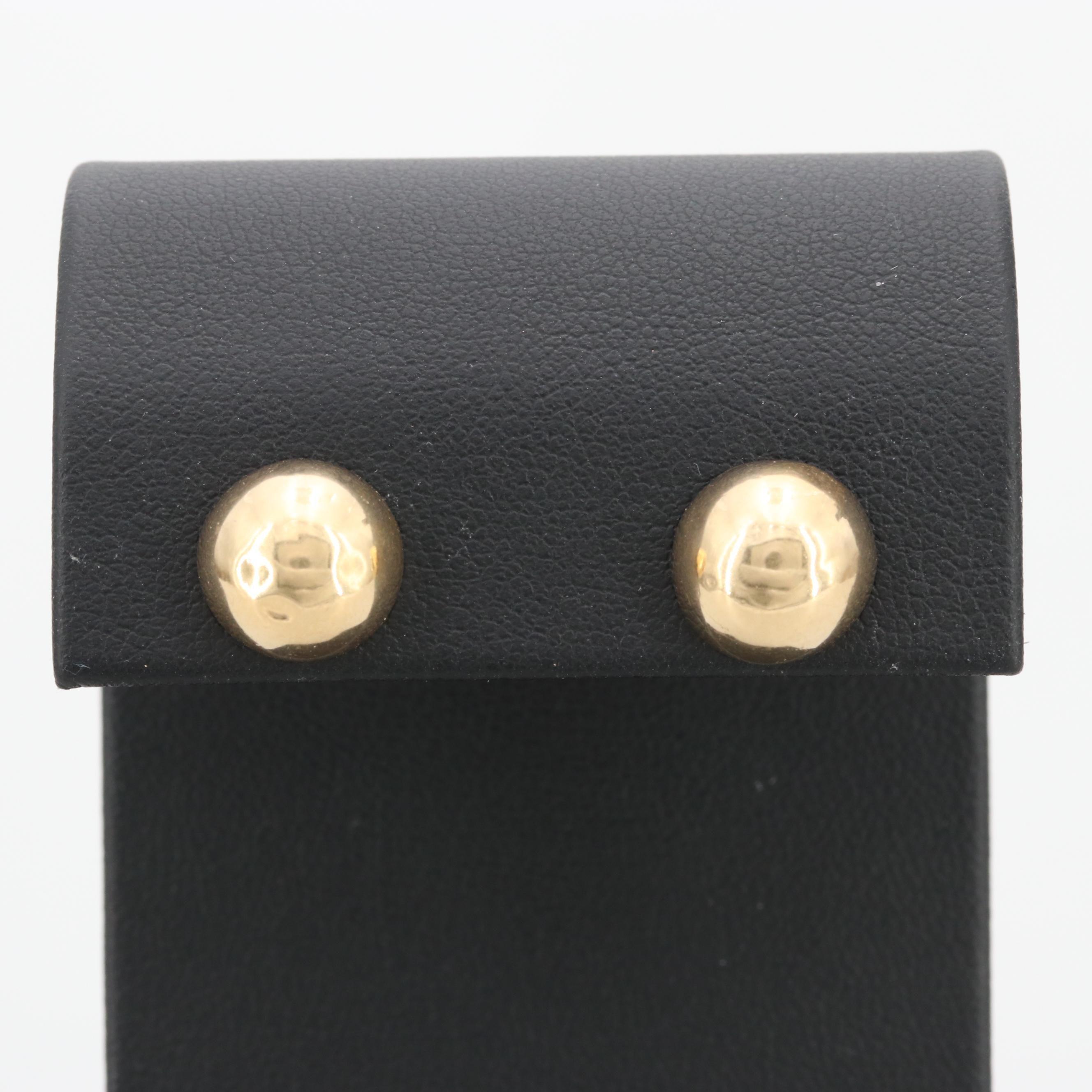 14K Yellow Gold Half Spherical Dome Stud Earrings