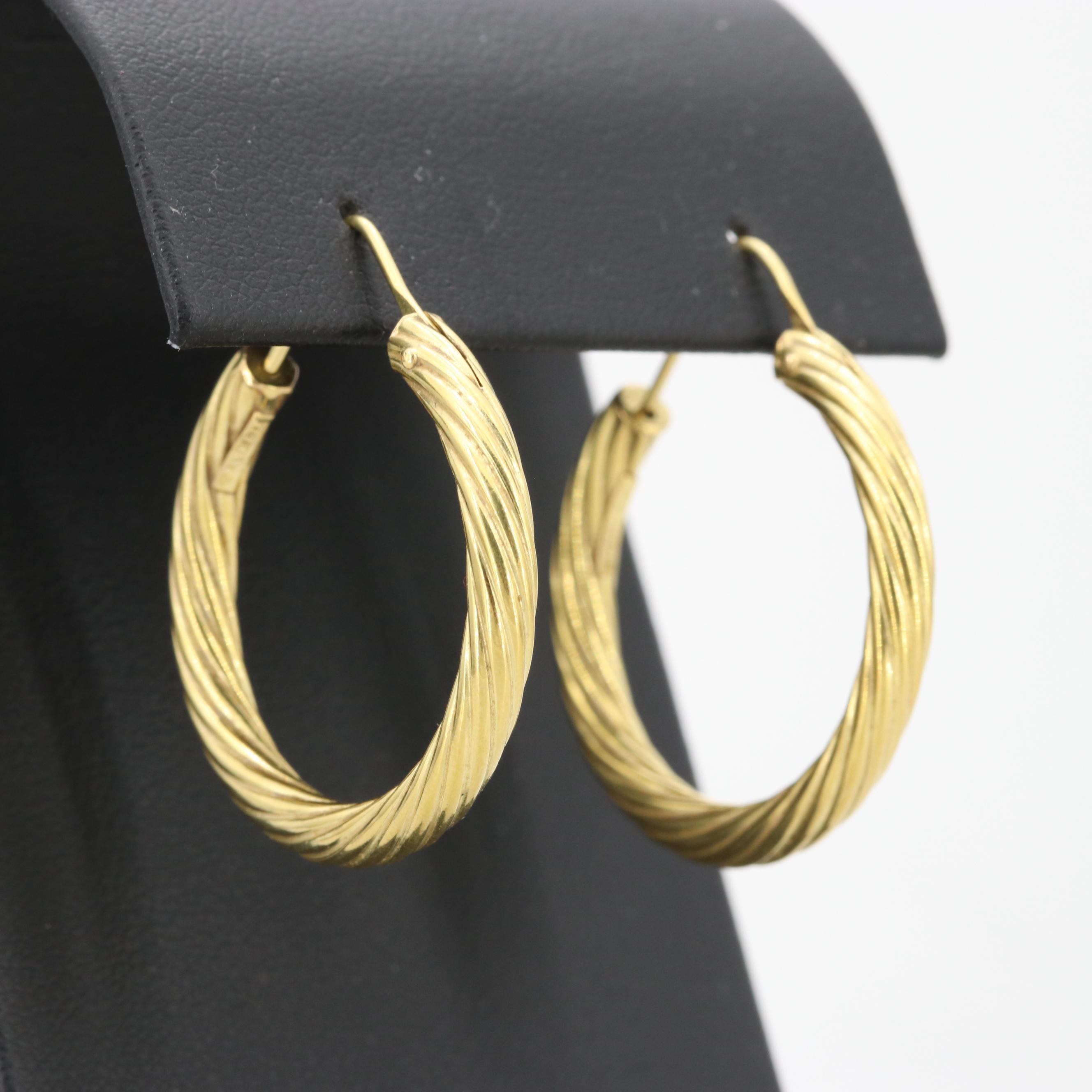 18K Yellow Gold Twist Design Hoop Earrings