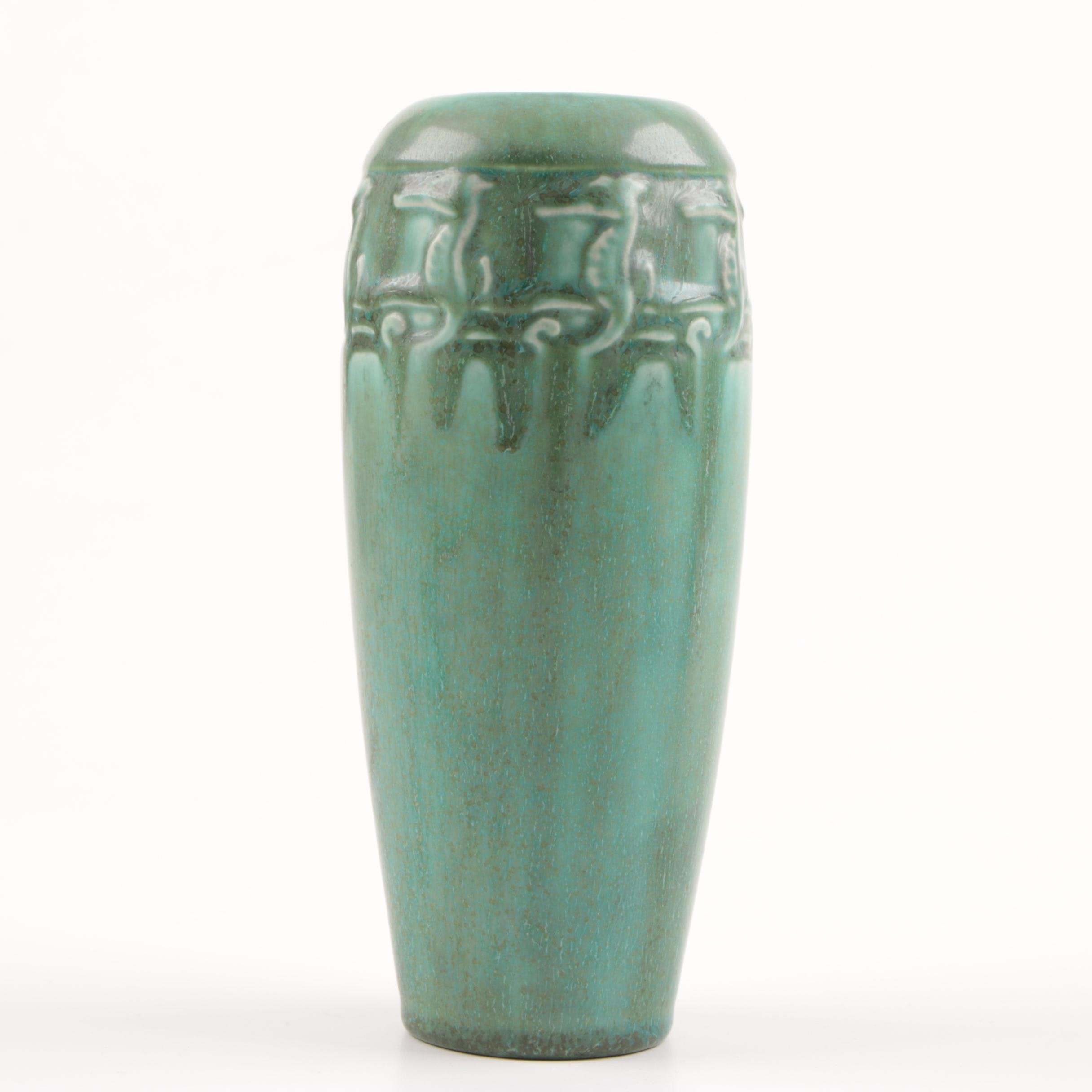Green Rookwood Pottery Vase With Seahorse Motif, 1923