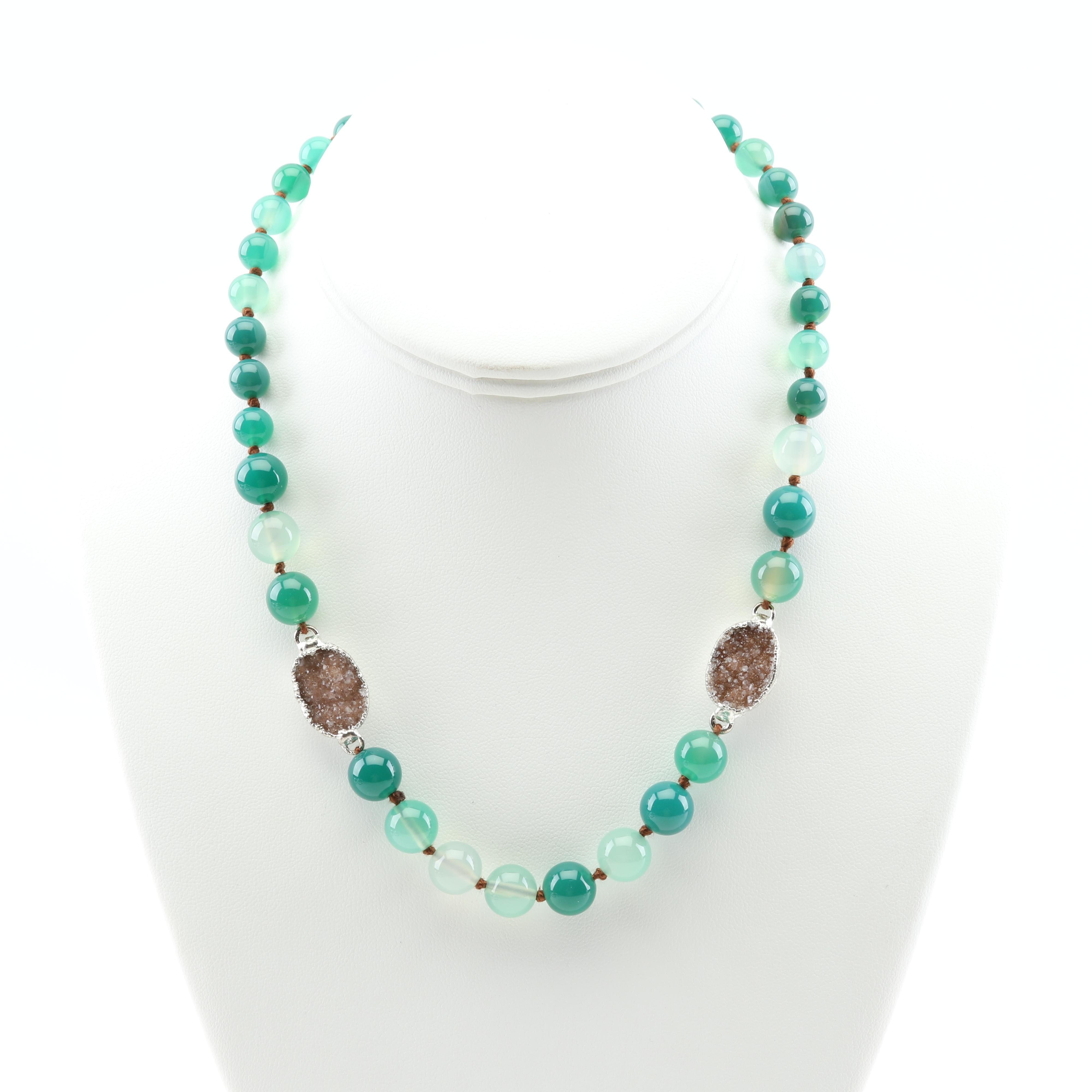 Nina Nguyen Sterling Silver Green Agate and Druzy Necklace
