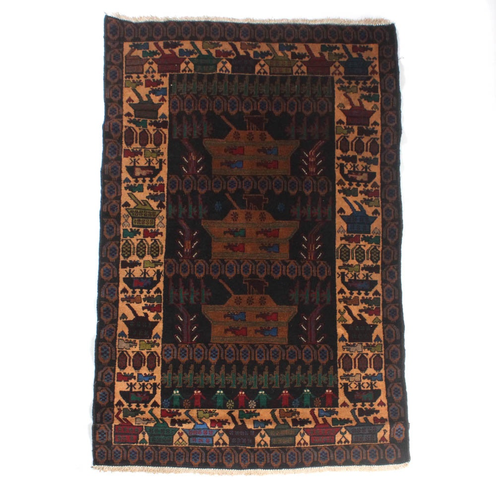 3'11 x 6'4 Hand-Knotted Afghani War Rug