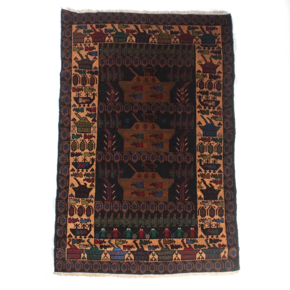 3'11 x 6'4 Hand-Knotted Afghani War Rug