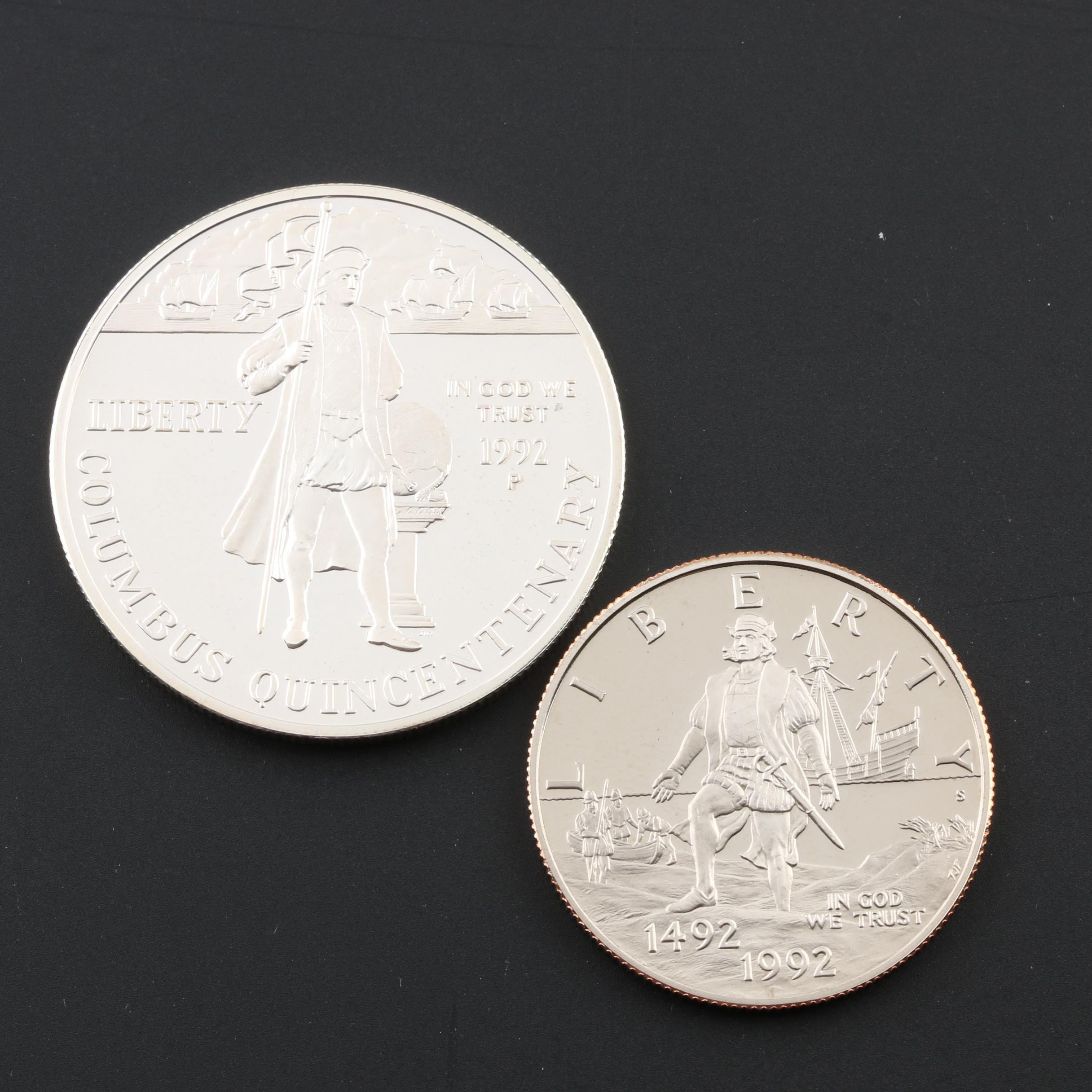 1992 Christopher Columbus Commemorative Half Dollar and Silver Dollar