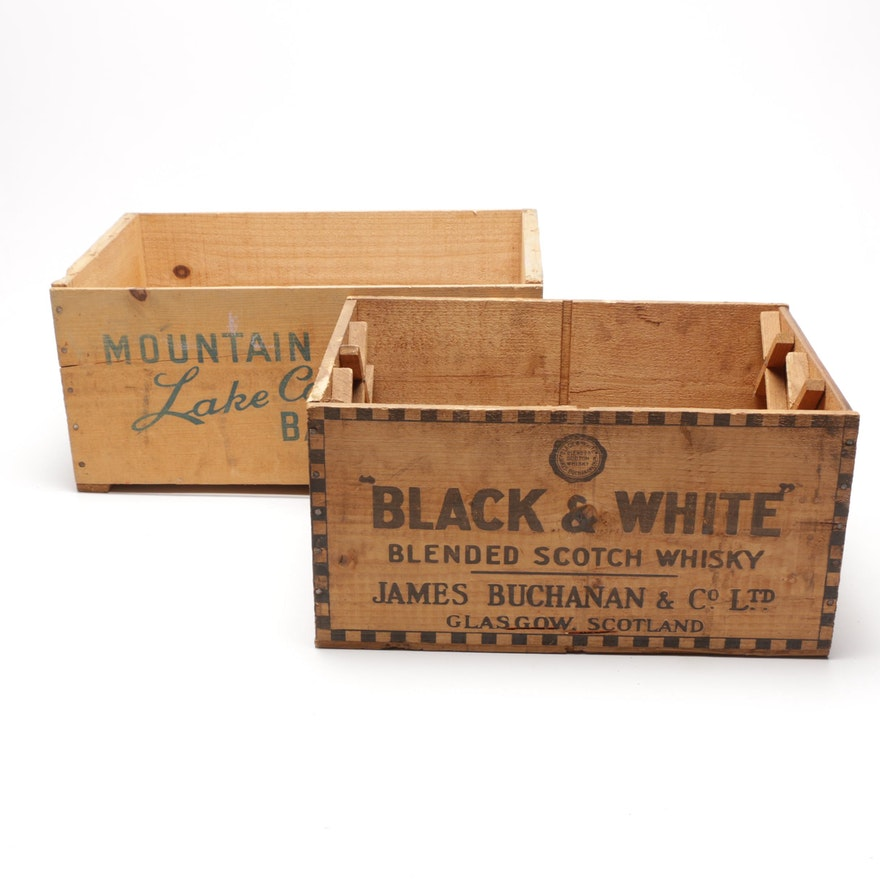 Wooden Pear and Scotch Whisky Advertising Crates