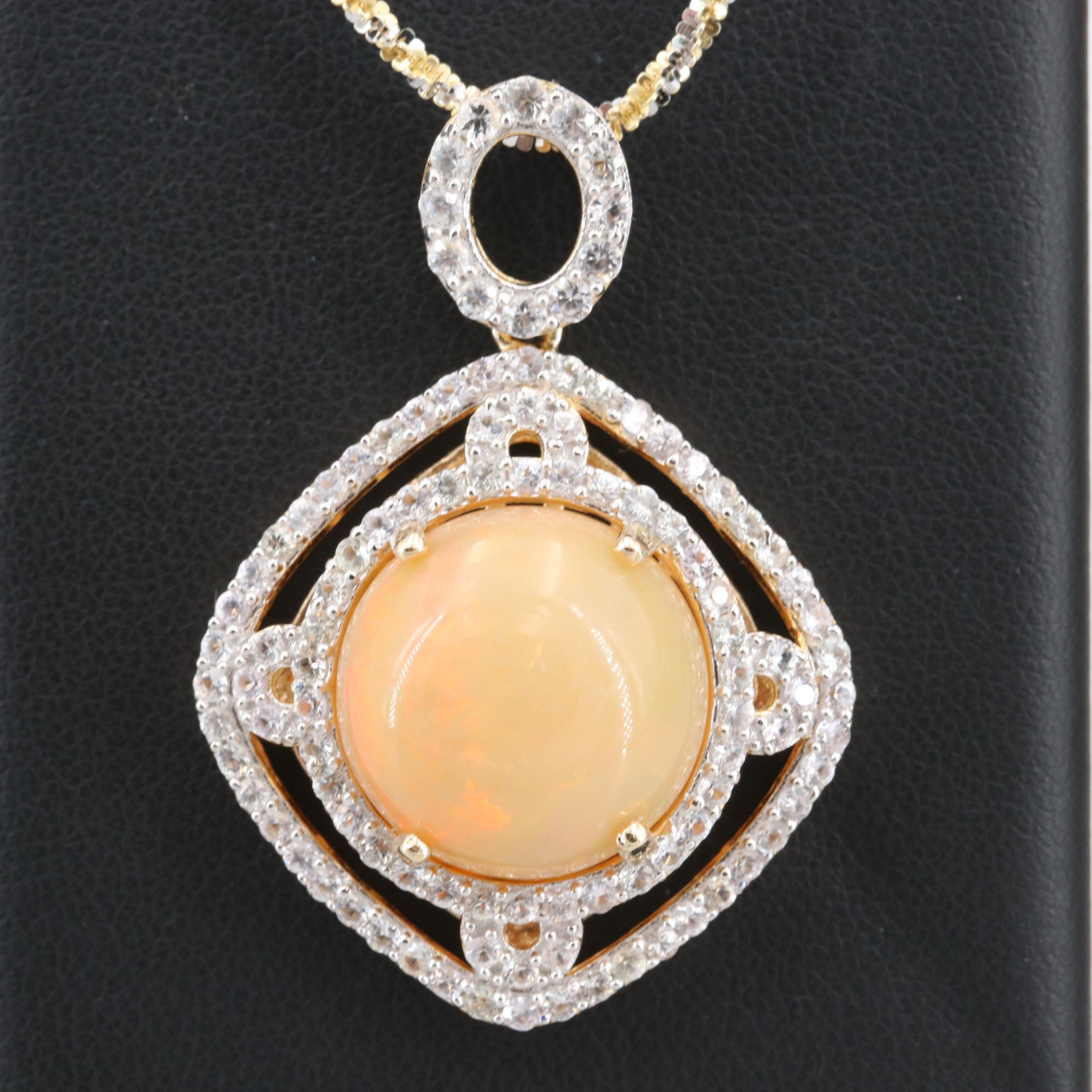 Sterling Opal and White Sapphire Pendant Necklace with Two-Tone Twist Chain