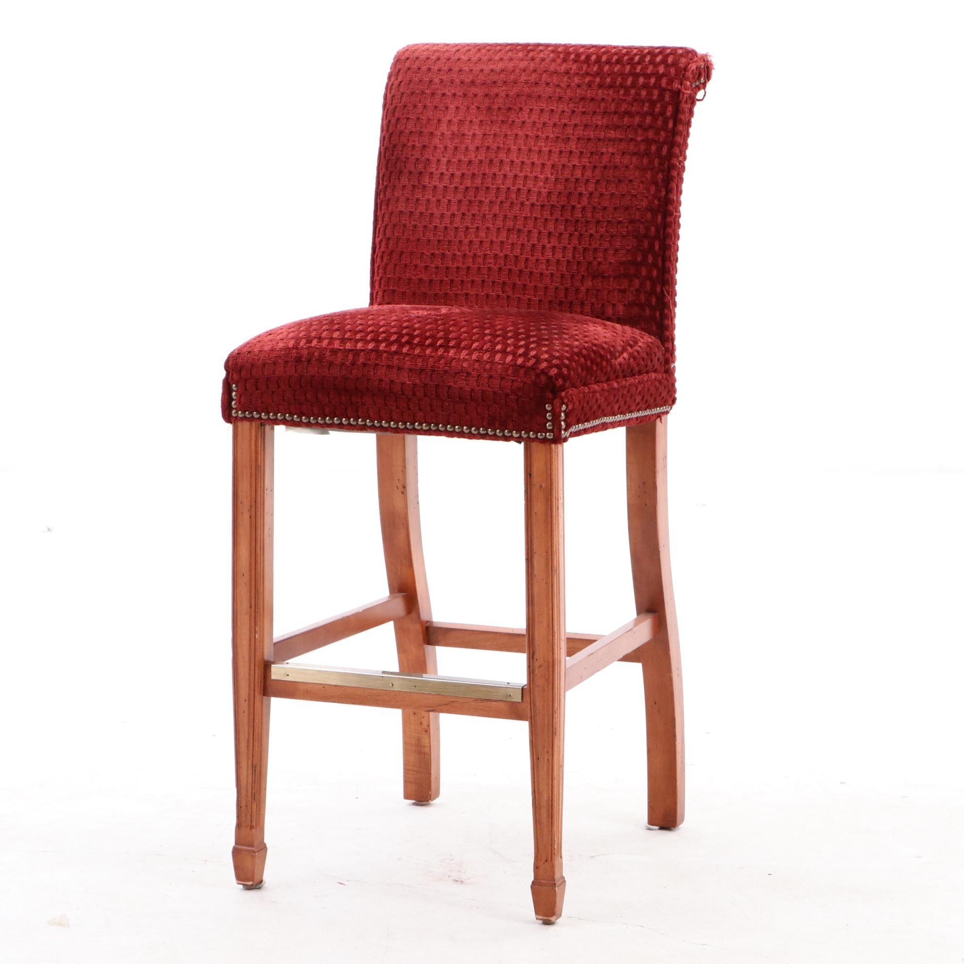 Statesville Chair Company Upholstered Counter Height Bar Stool in Red