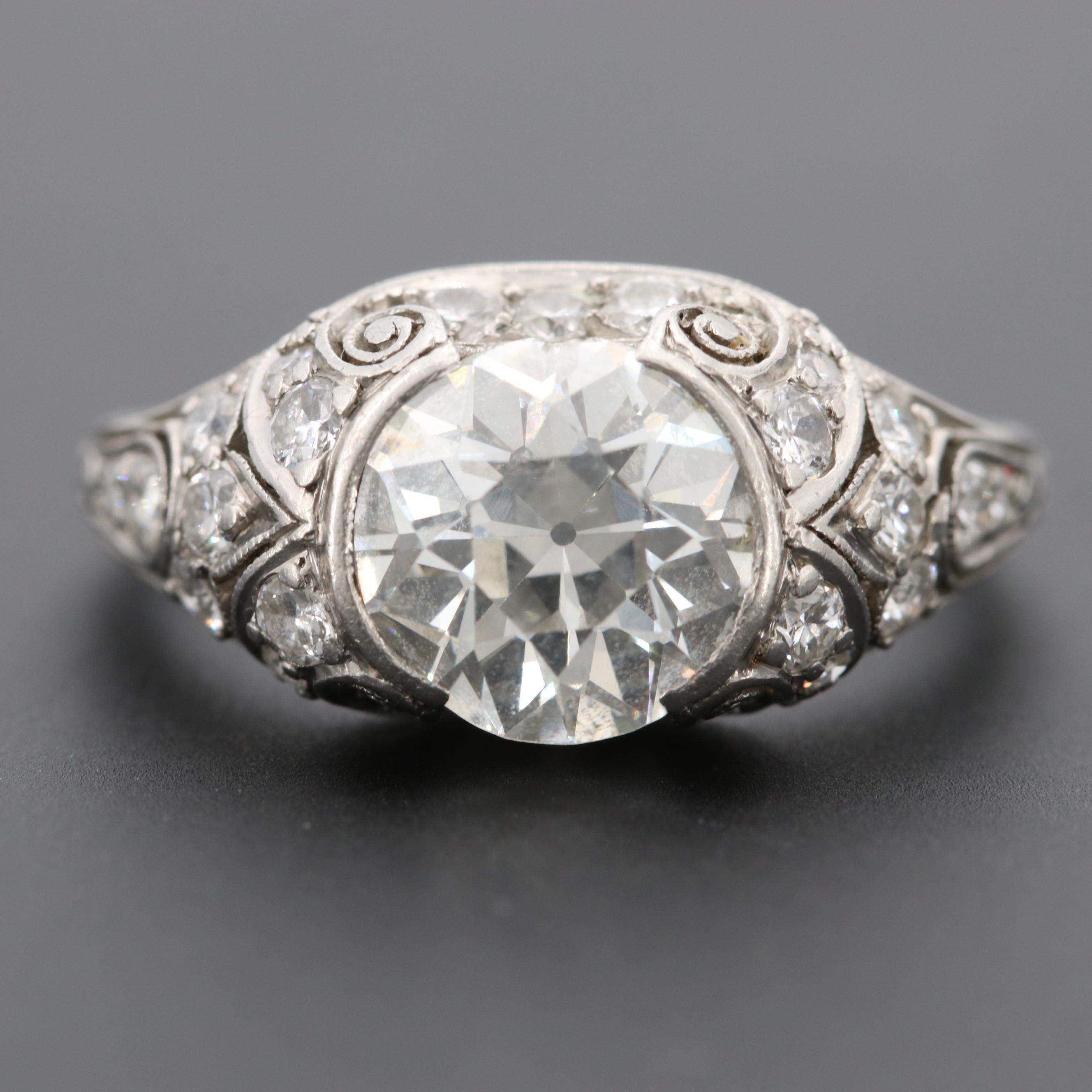 Edwardian Platinum 2.84 CTW Diamond Ring