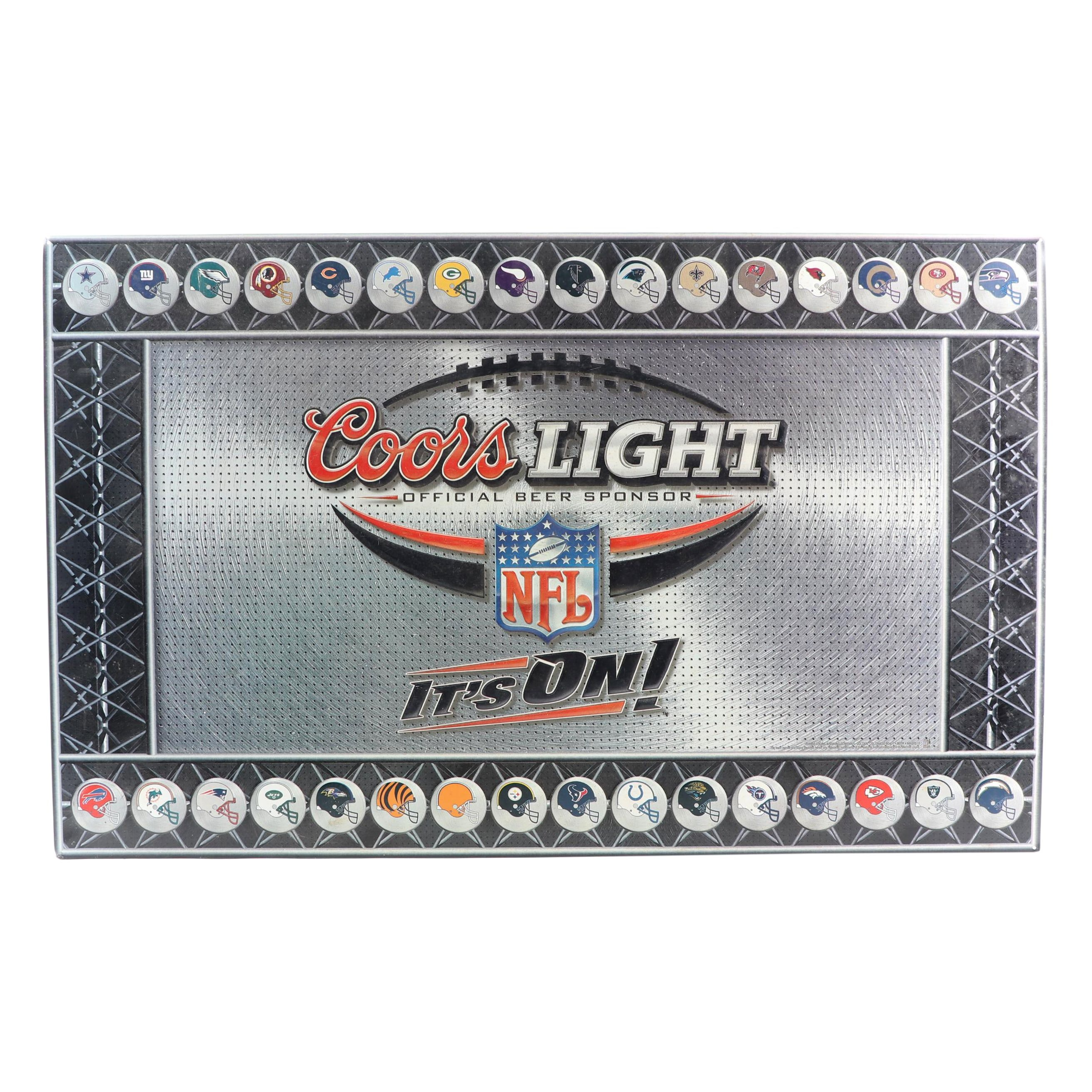 """NFL and Coors Light """"It's On!"""" Metal Sign"""