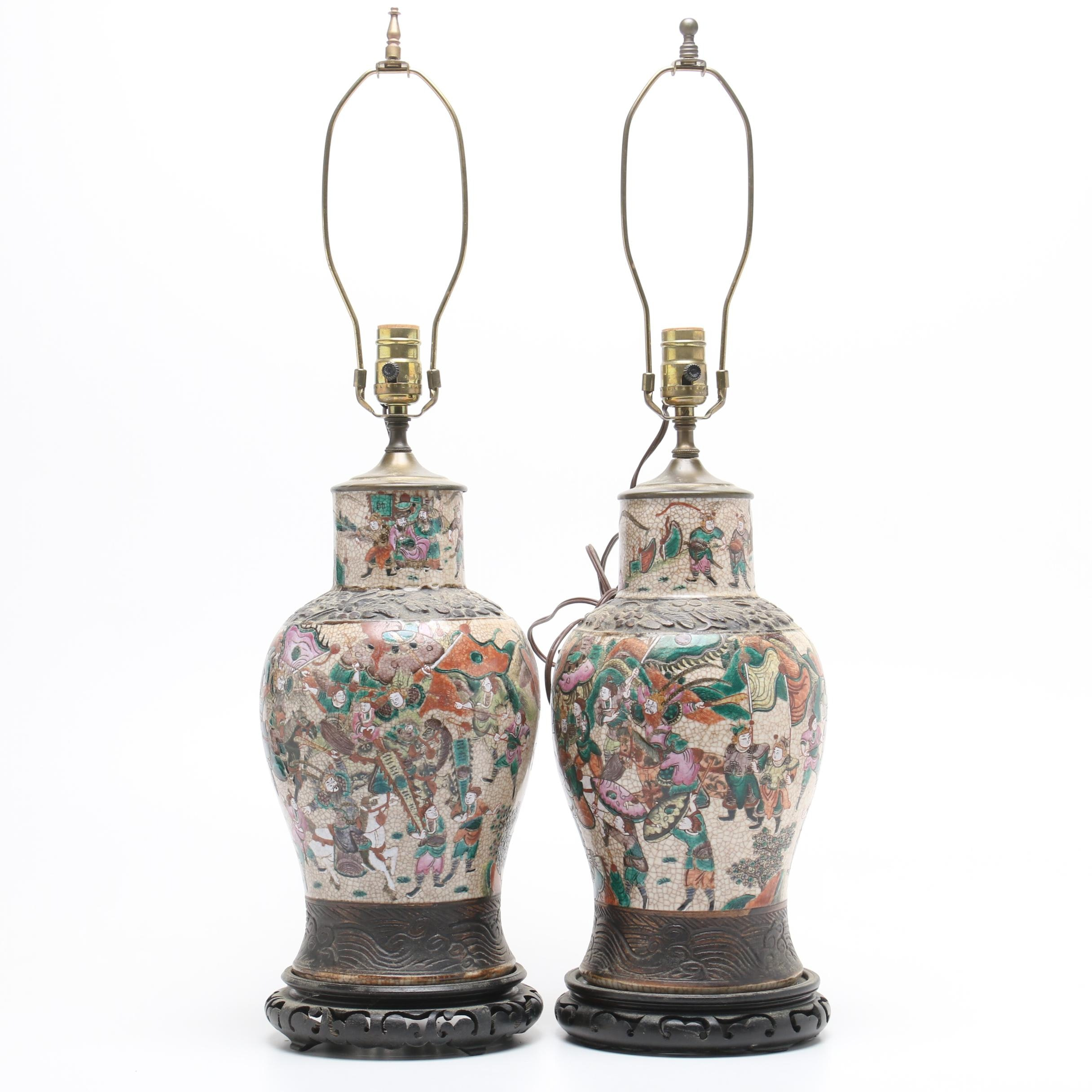 Chinese Hand-Painted Stoneware Vase Table Lamps with Wooden Bases