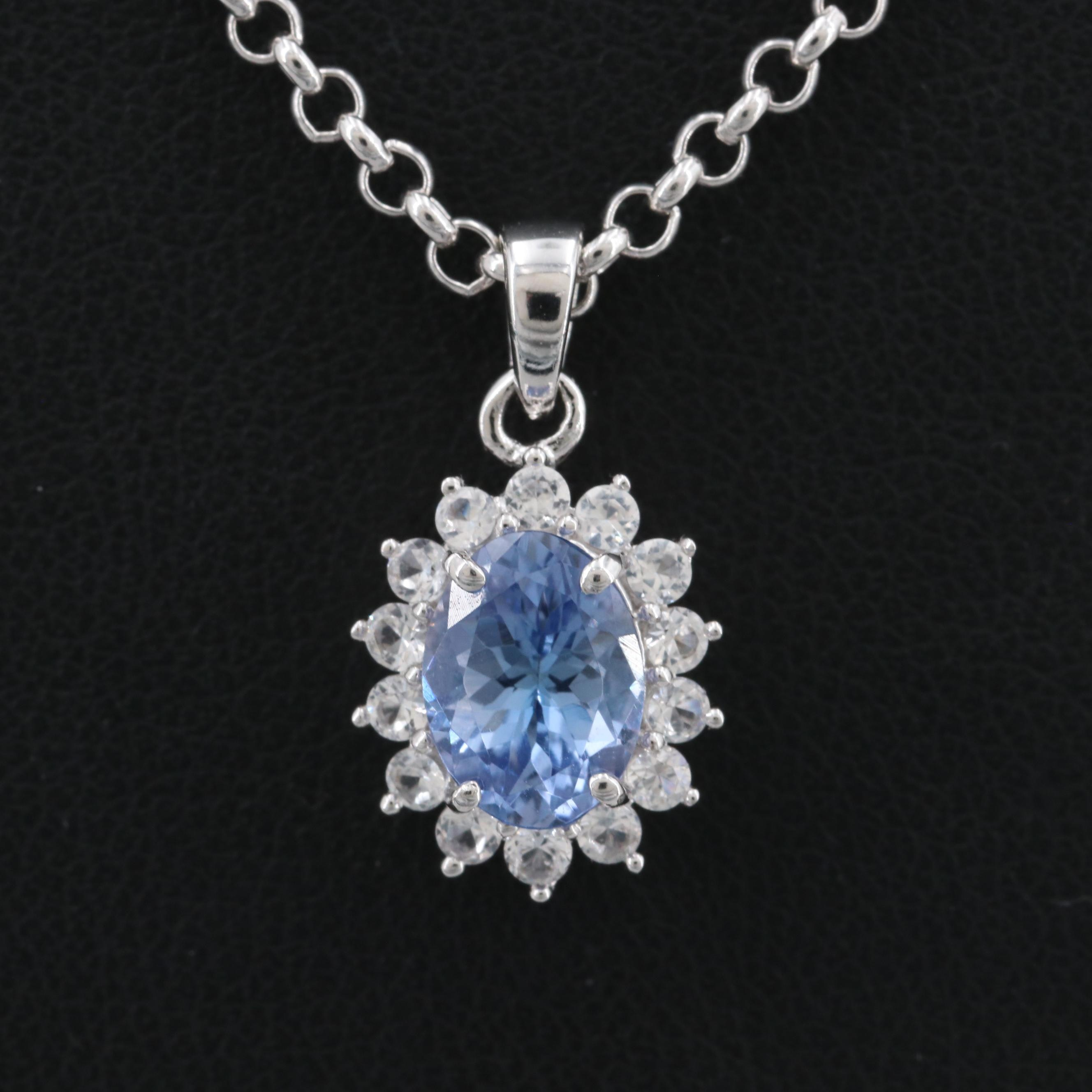 Sterling Silver Tanzanite and White Topaz Pendant Necklace