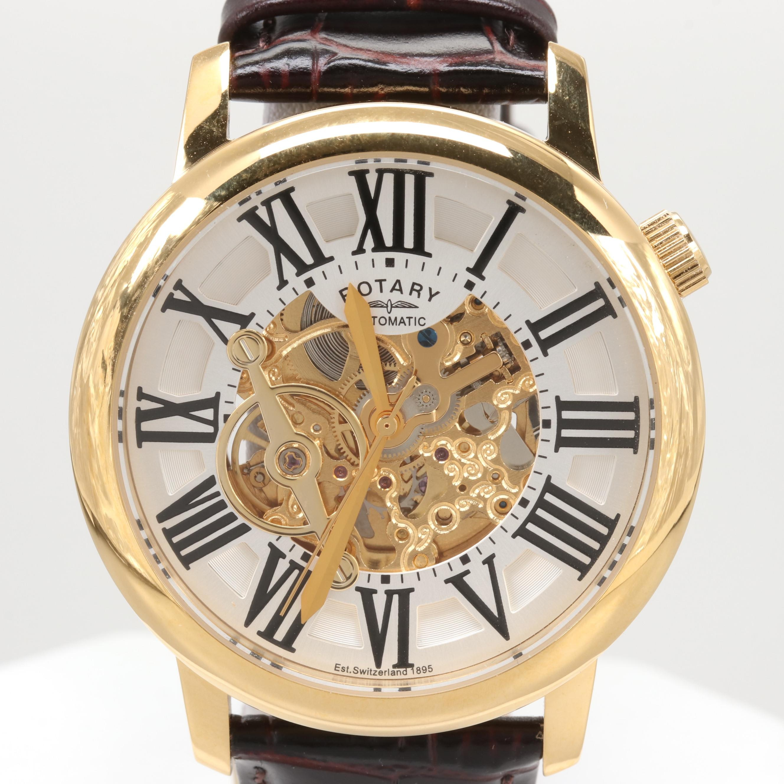 Rotary Automatic Stainless Steel Wristwatch With Skeleton Dial