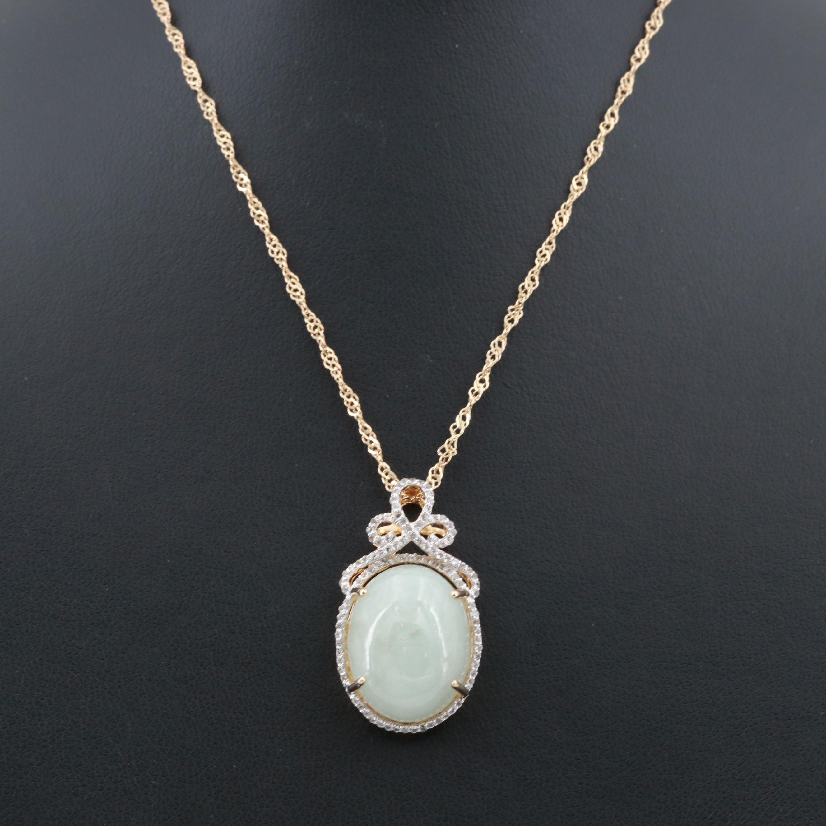 Gold Wash on Sterling Silver Jadeite and White Topaz Pendant Necklace