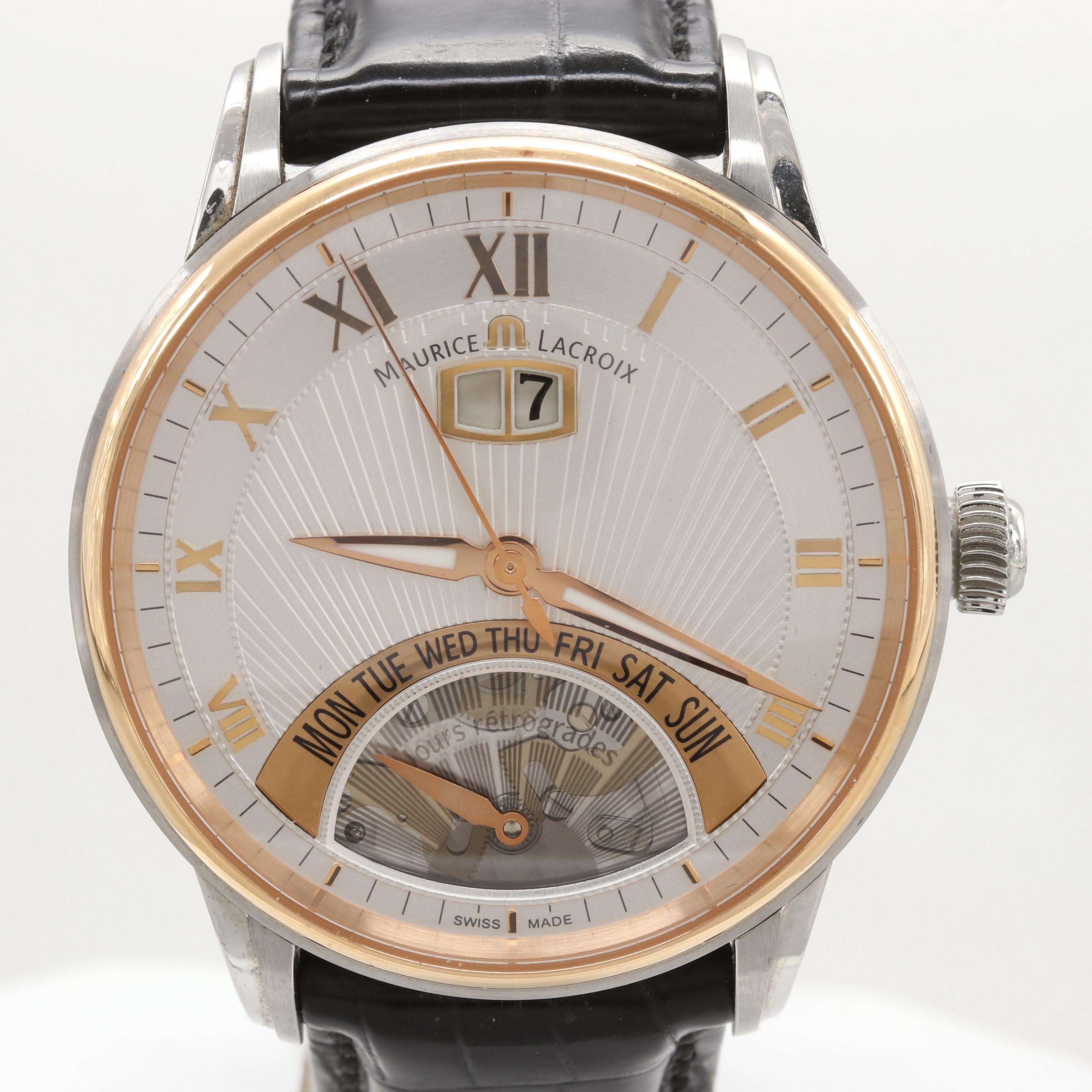 Maurice Lacroix Masterpiece Retrograde Stainless Steel and 18K Gold Wristwatch