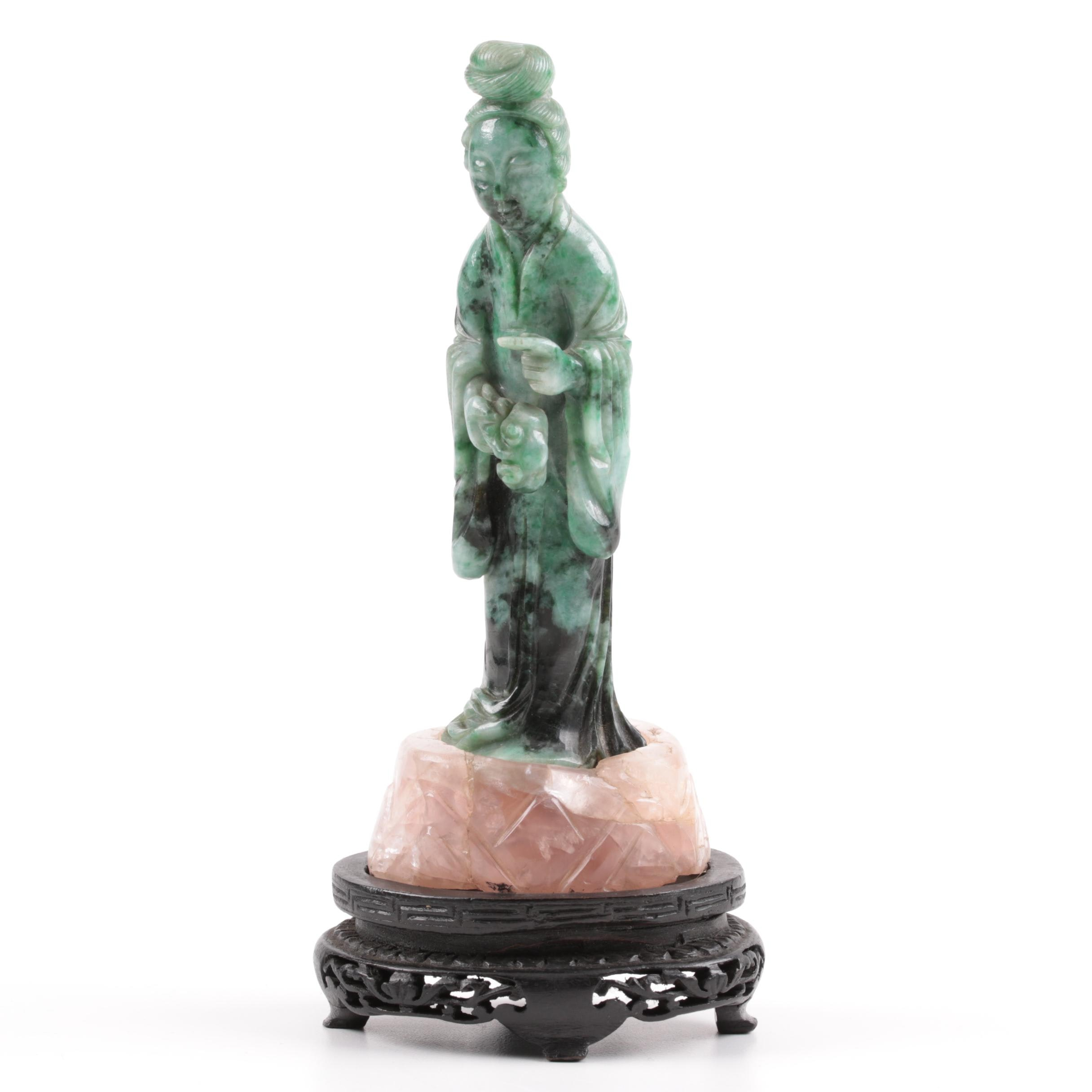 Chinese Variegated Green Jadeite and Rose Quartz Guanyin, 19th Century