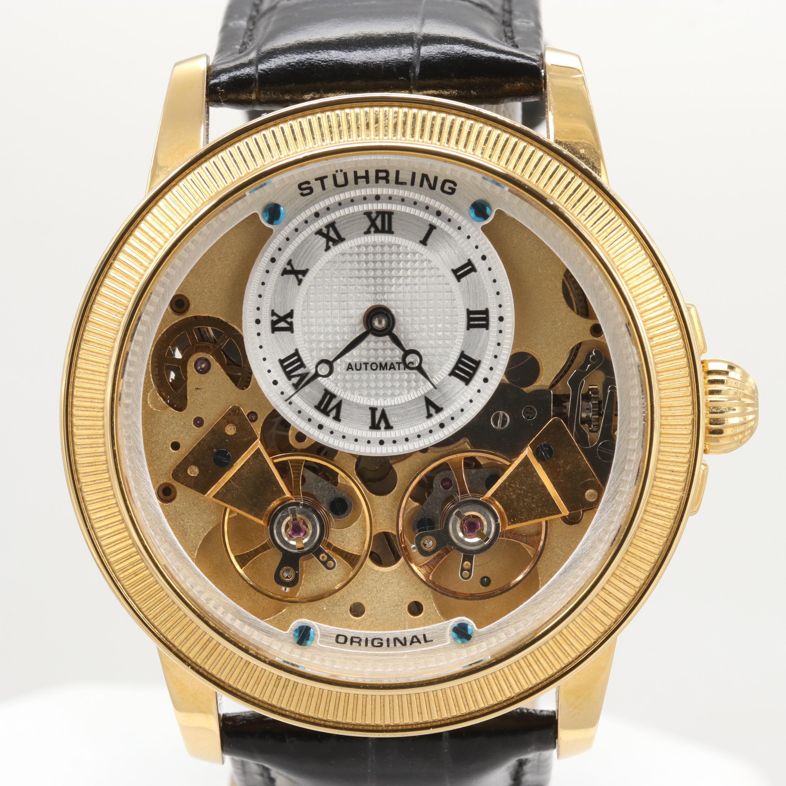 Stuhrling Gemini Double Balance Stainless Steel Skeleton Style Wristwatch
