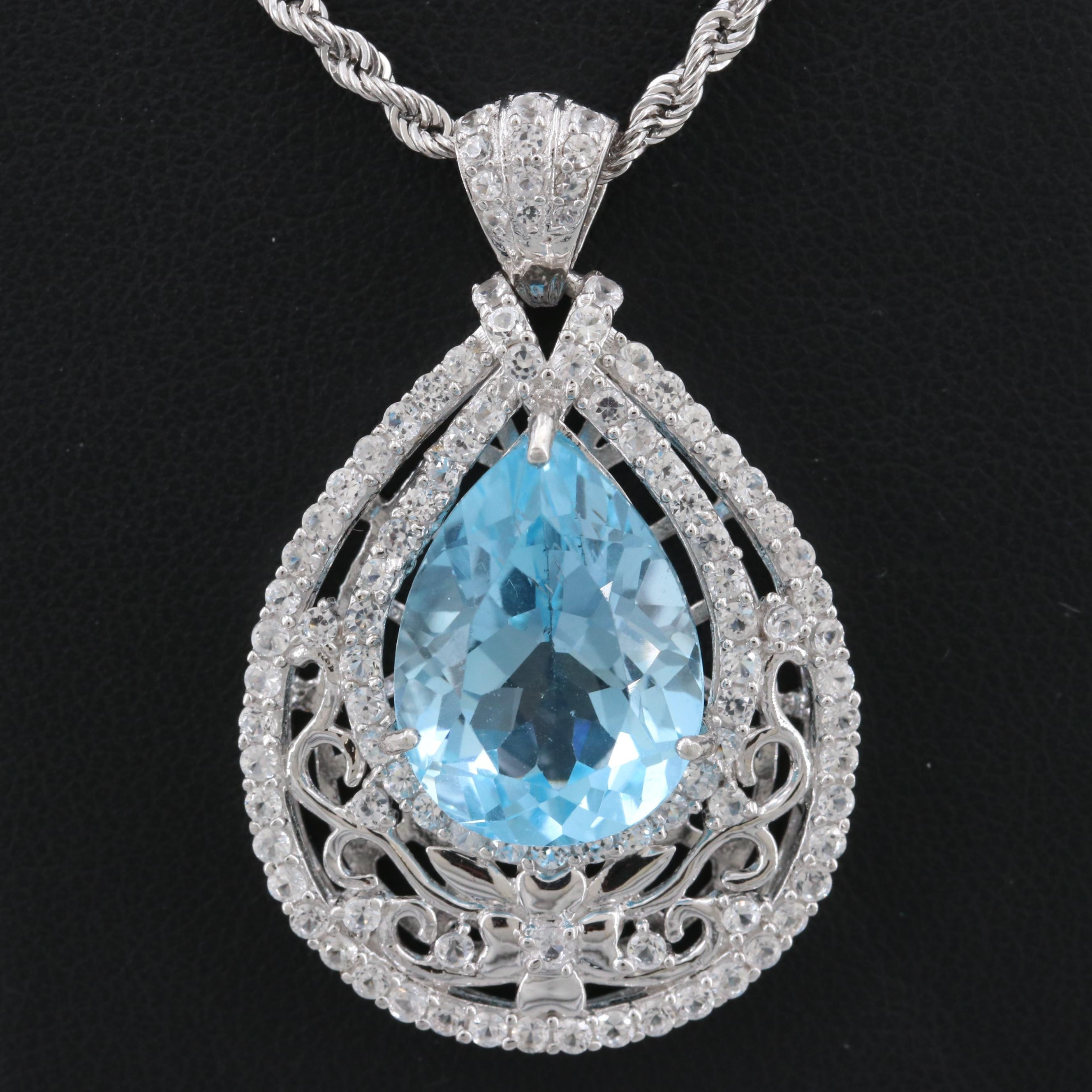 Sterling Silver Blue Topaz Pendant Necklace with White Topaz Accents