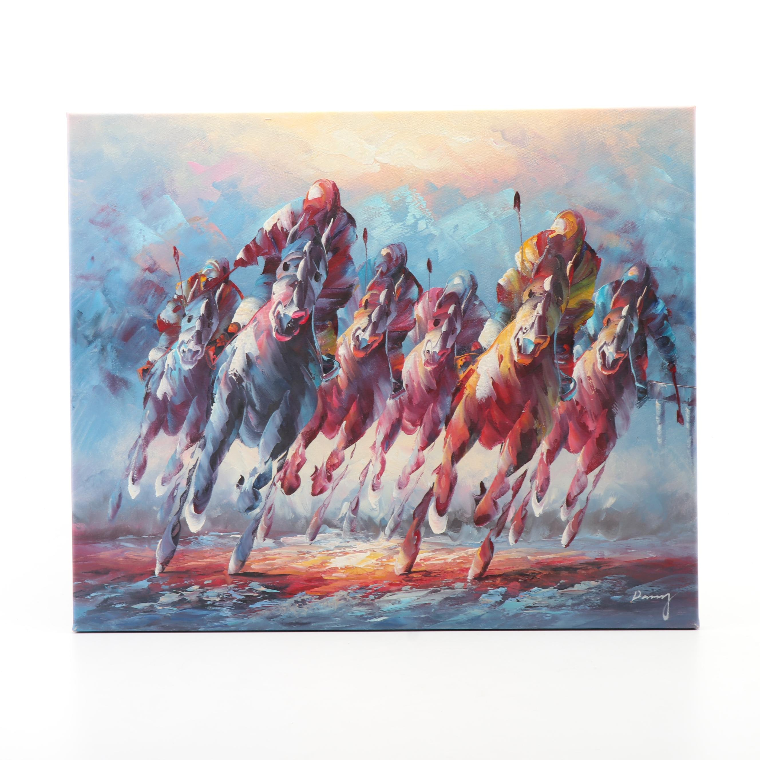 Oil Painting of Polo Players