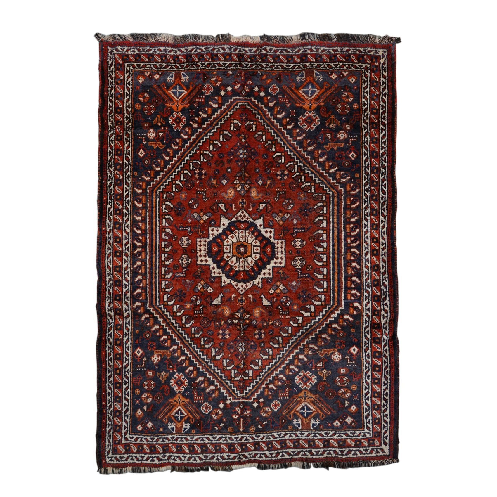 Hand-Knotted Persian Shiraz Wool Rug