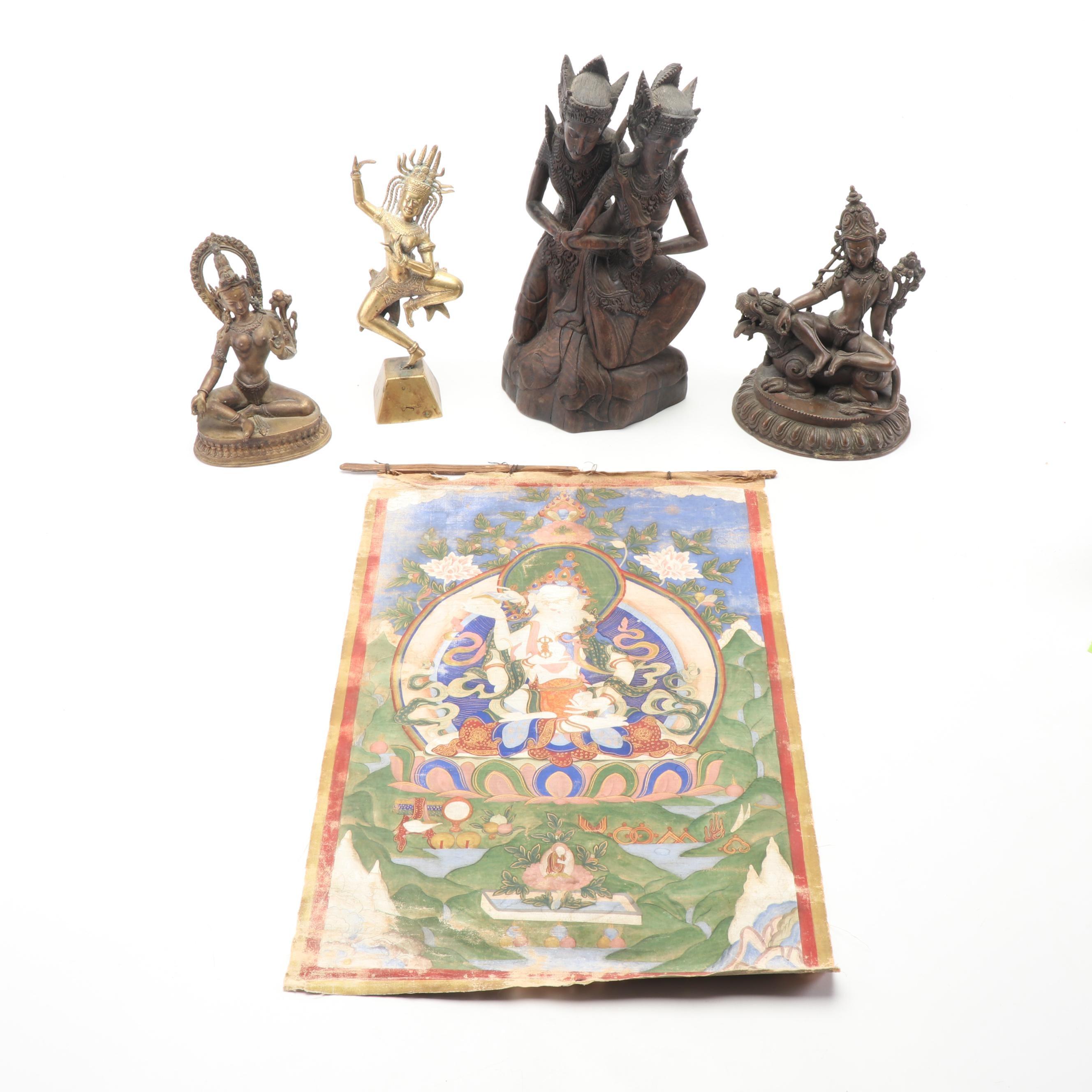 Tibetan Vajrasattva Yab-Yum Thangka with Tibetan and Southeast Asian Figurines