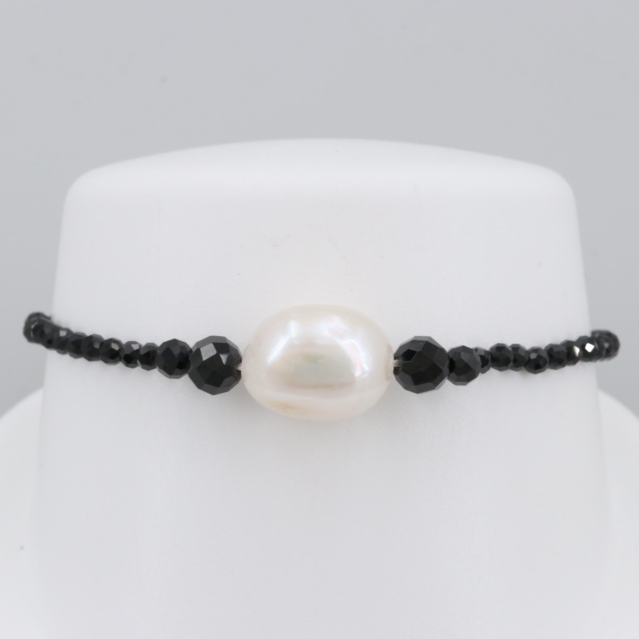 Cultured Pearl and Black Onyx Beaded Expandable Bracelet