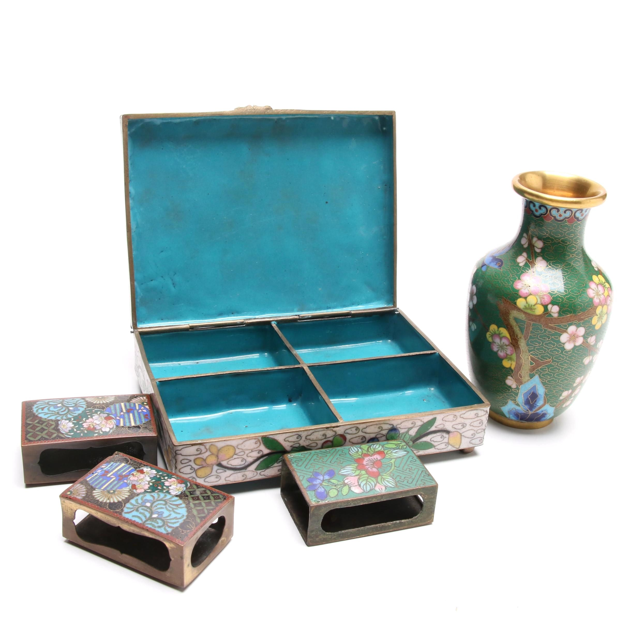 Chinese Cloisonné Cigarette Case and Matchbox Covers with Vase