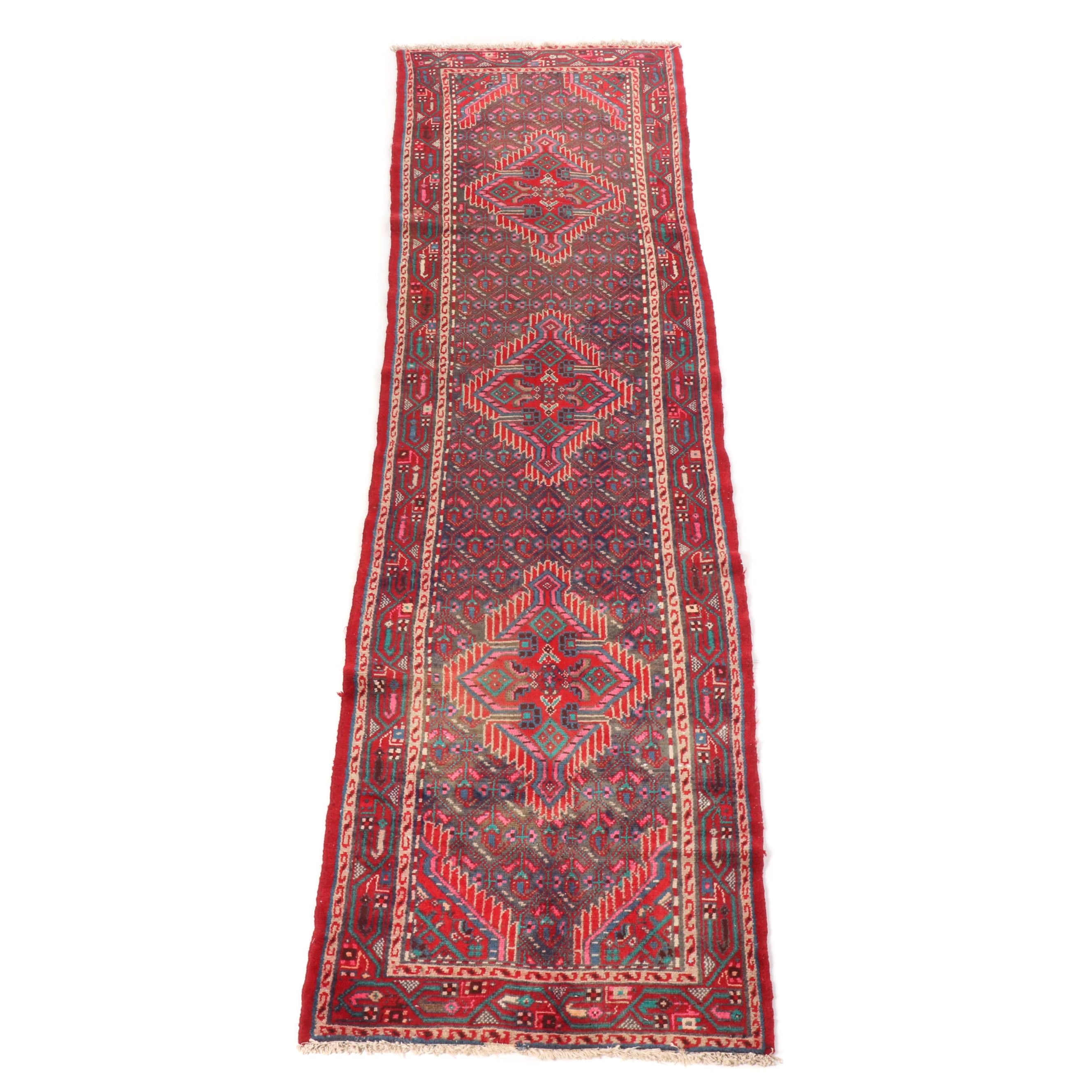 Hand-Knotted Persian Hamadan Runner Rug