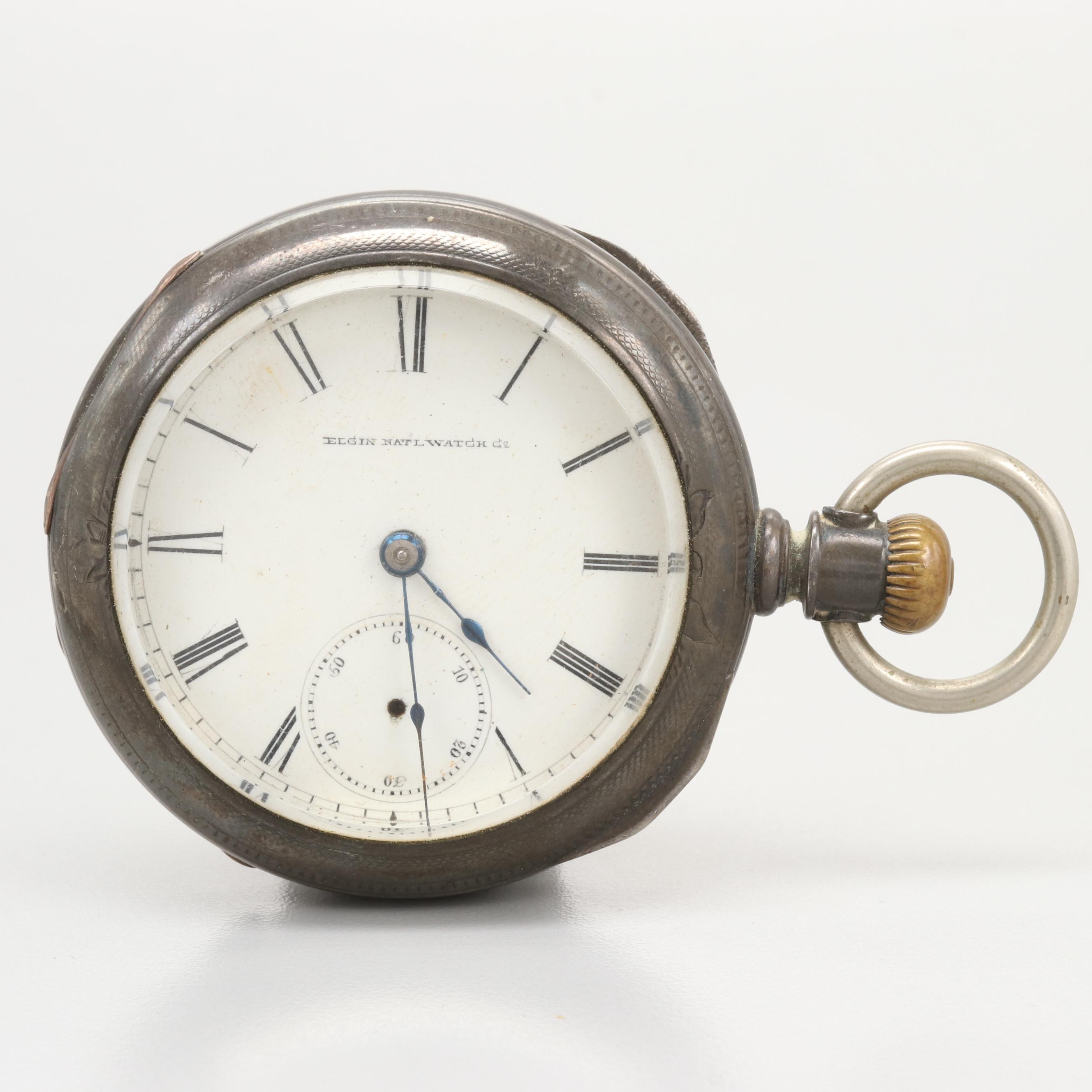 Elgin National Coin Silver Pocket Watch For Scrap