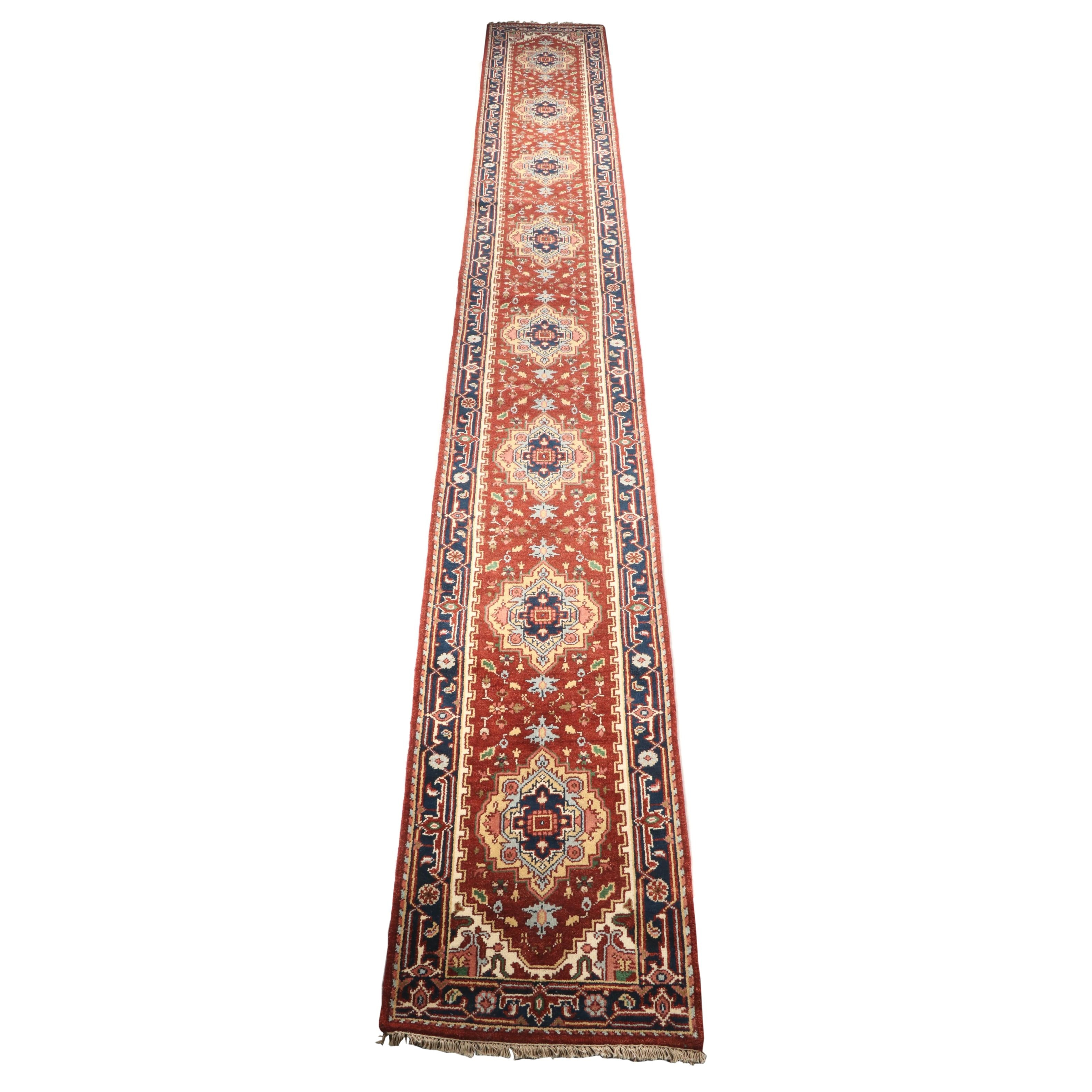 Hand-Knotted Indo-Persian Heriz Wool Carpet Runner