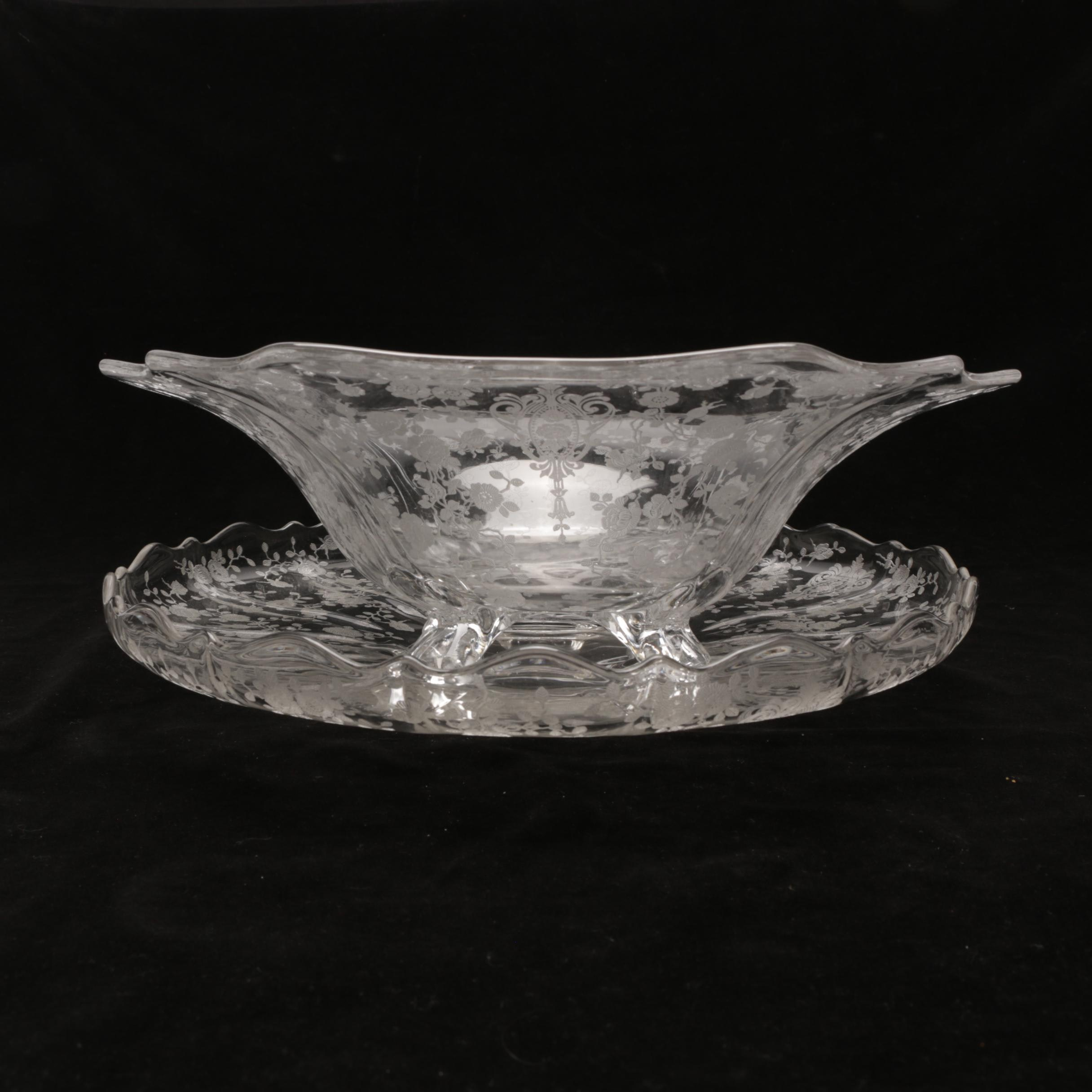Rose Print Glass Centerpiece Bowl with Tray, Attributed to Cambridge