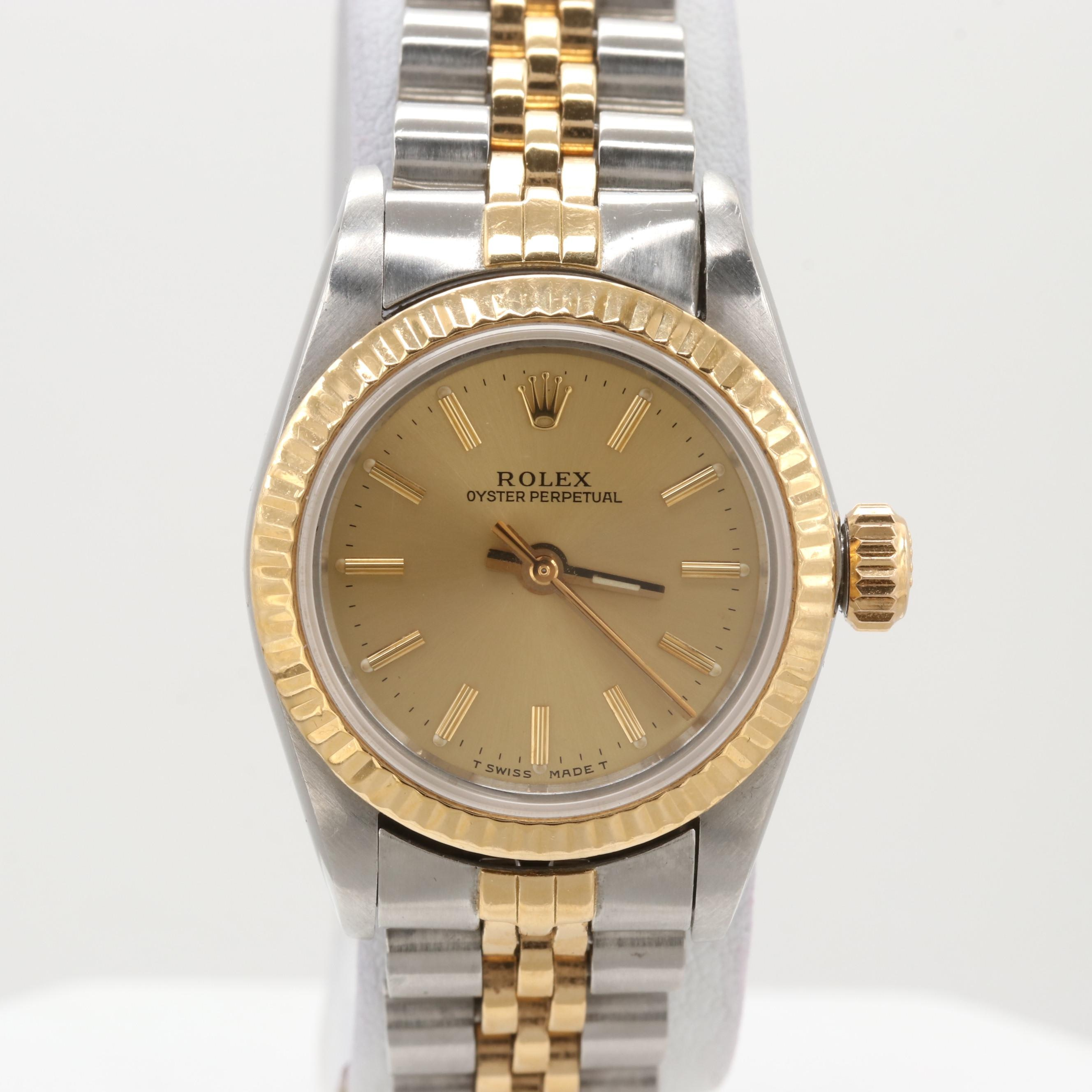 Rolex Oyster Perpetual Stainless Steel and 18K Yellow Gold Wristwatch, 1989