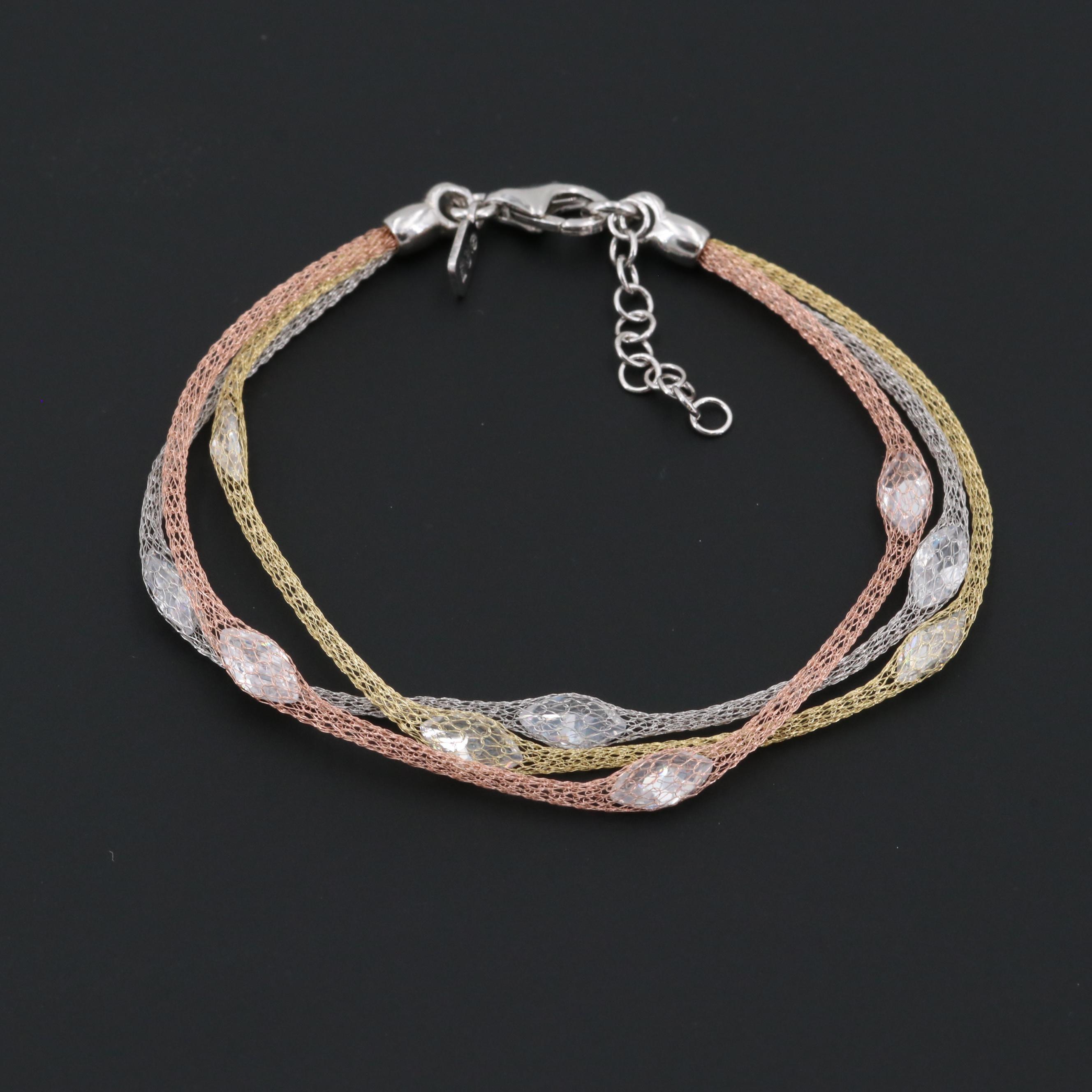 Tri-Color Wash on Sterling Silver Cubic Zirconia Mesh Station Bracelet
