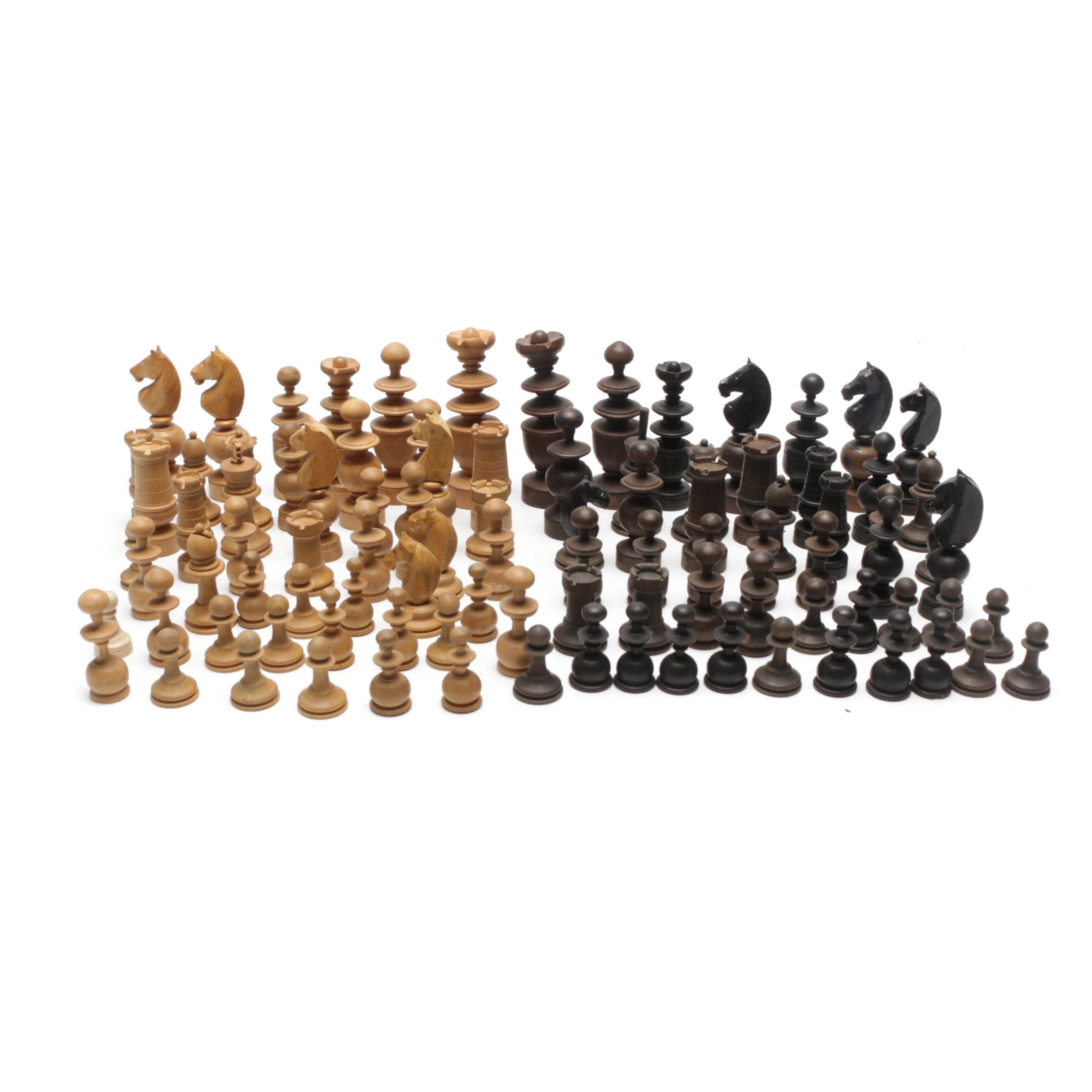 Carved Wood Chess Pieces