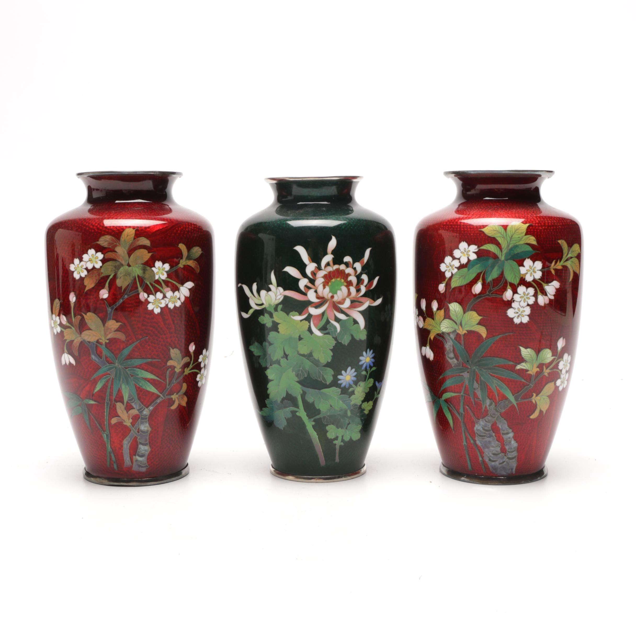 Japanese Cloisonné Vases, Mid-20th Century