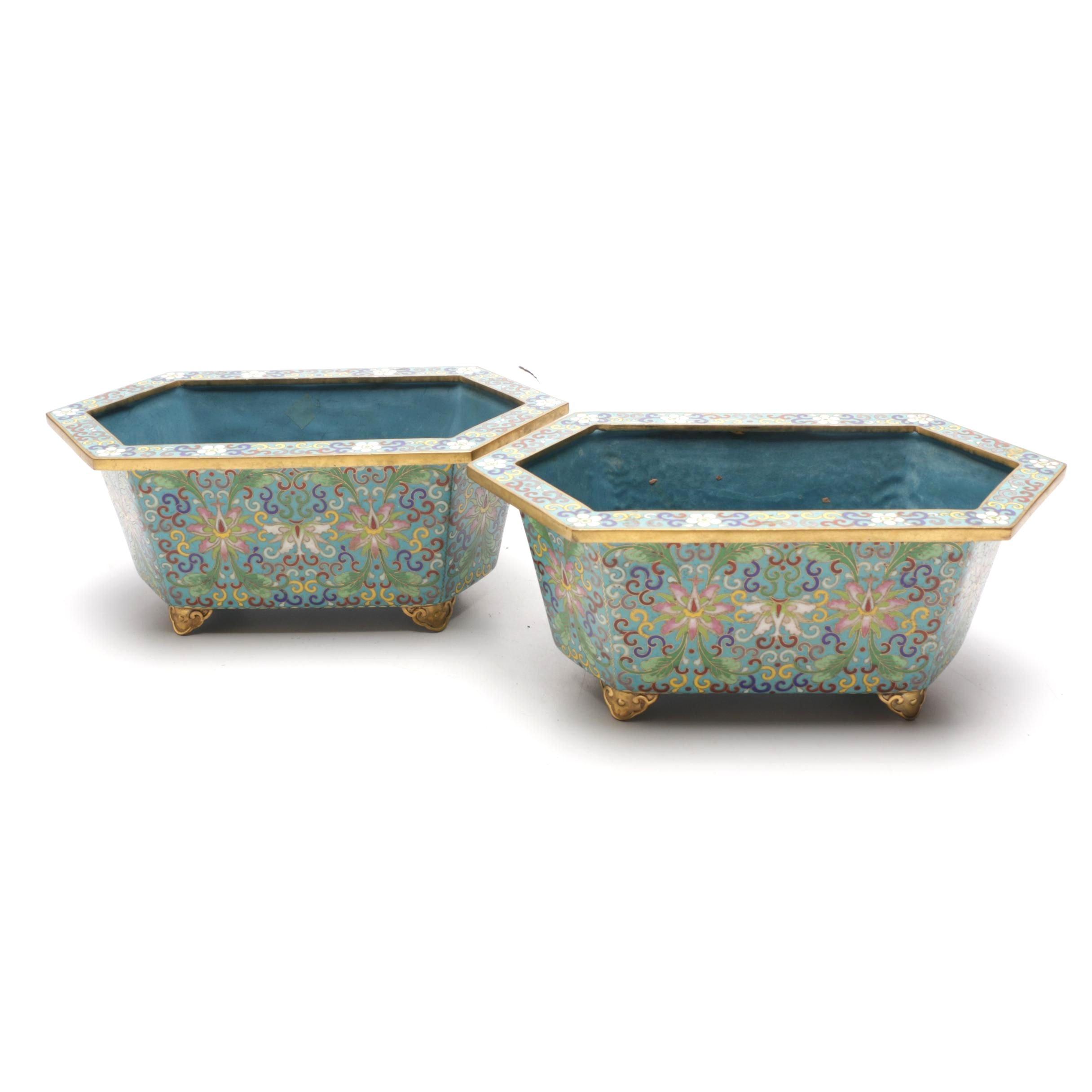 Chinese Cloisonné Ceramic Jardinières