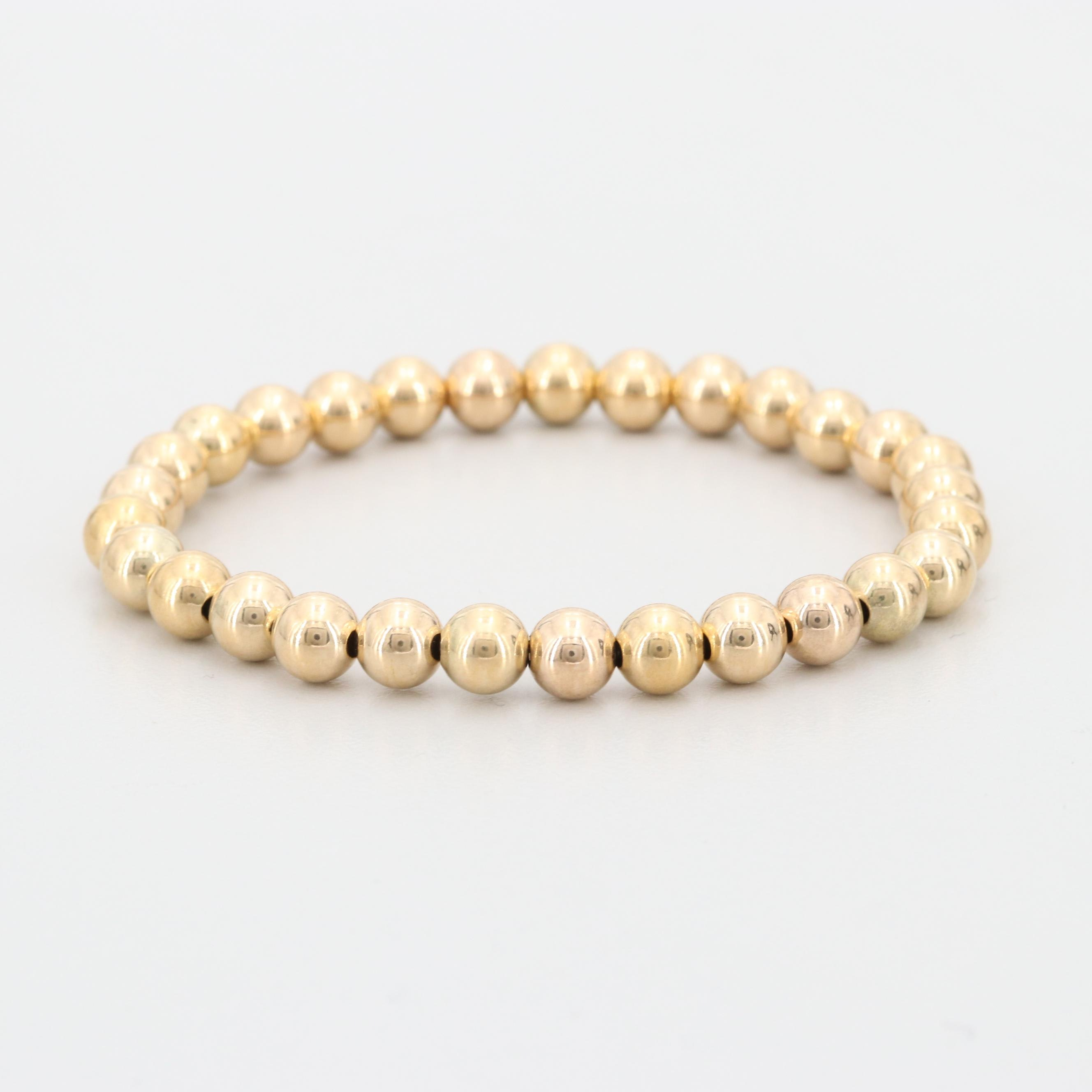 14K Yellow Gold Beaded Stretch Band Bracelet