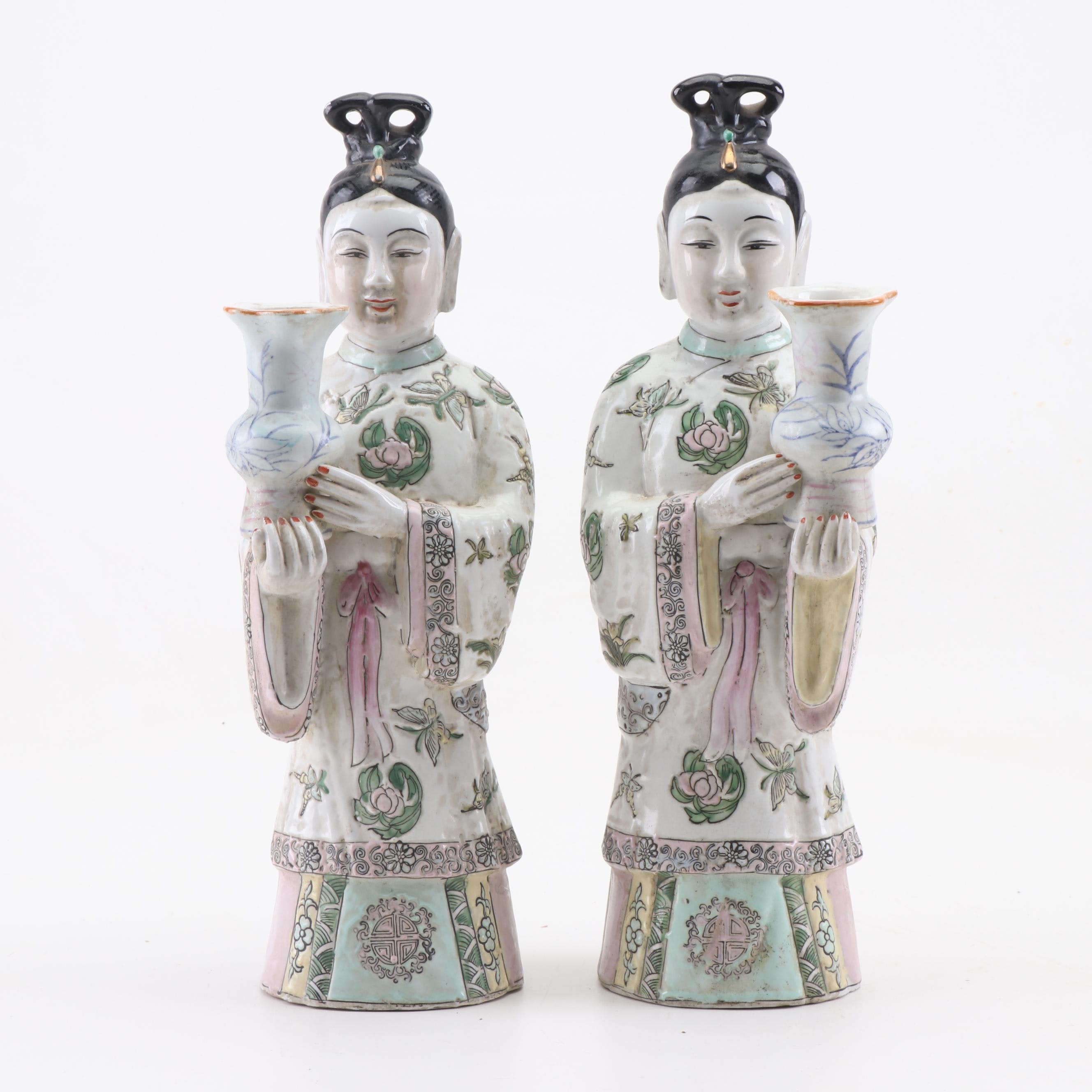 Chinese Figural Ceramic Candle Holders