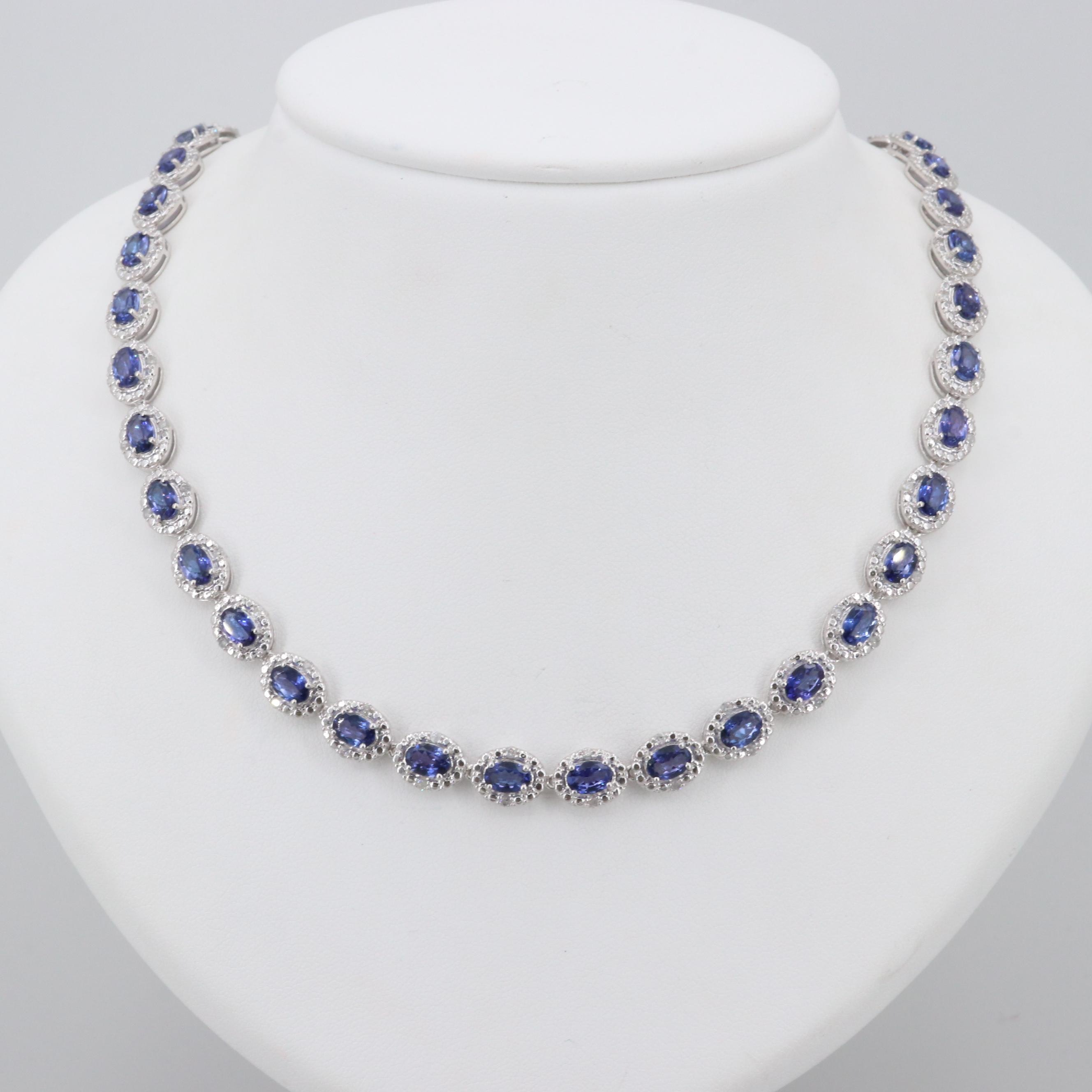 Sterling Silver Tanzanite and 1.25 CTW Diamond Necklace