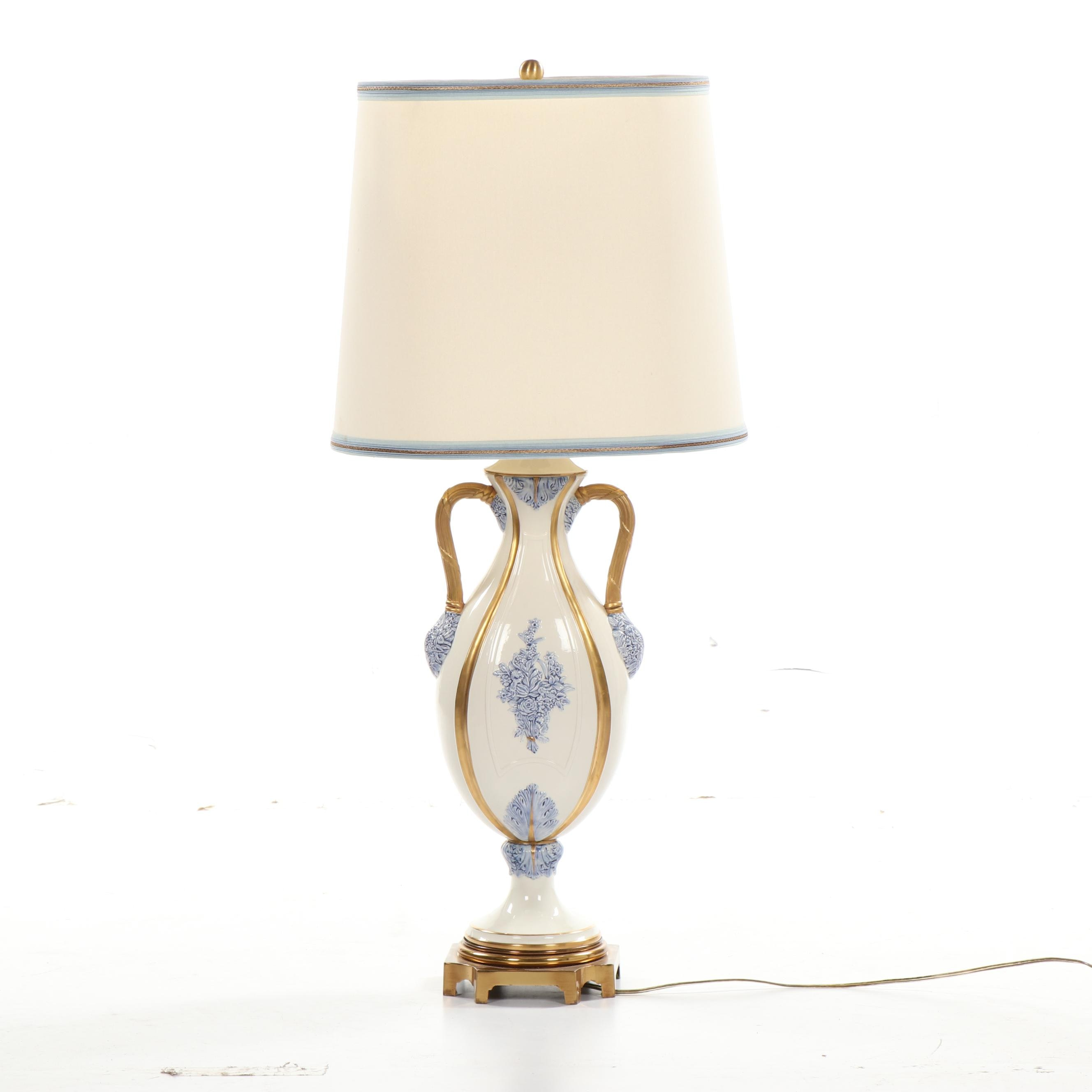 Marbro Lamp Co. White and Blue Gilt Accented Floral Table Lamp with Lamp Shade