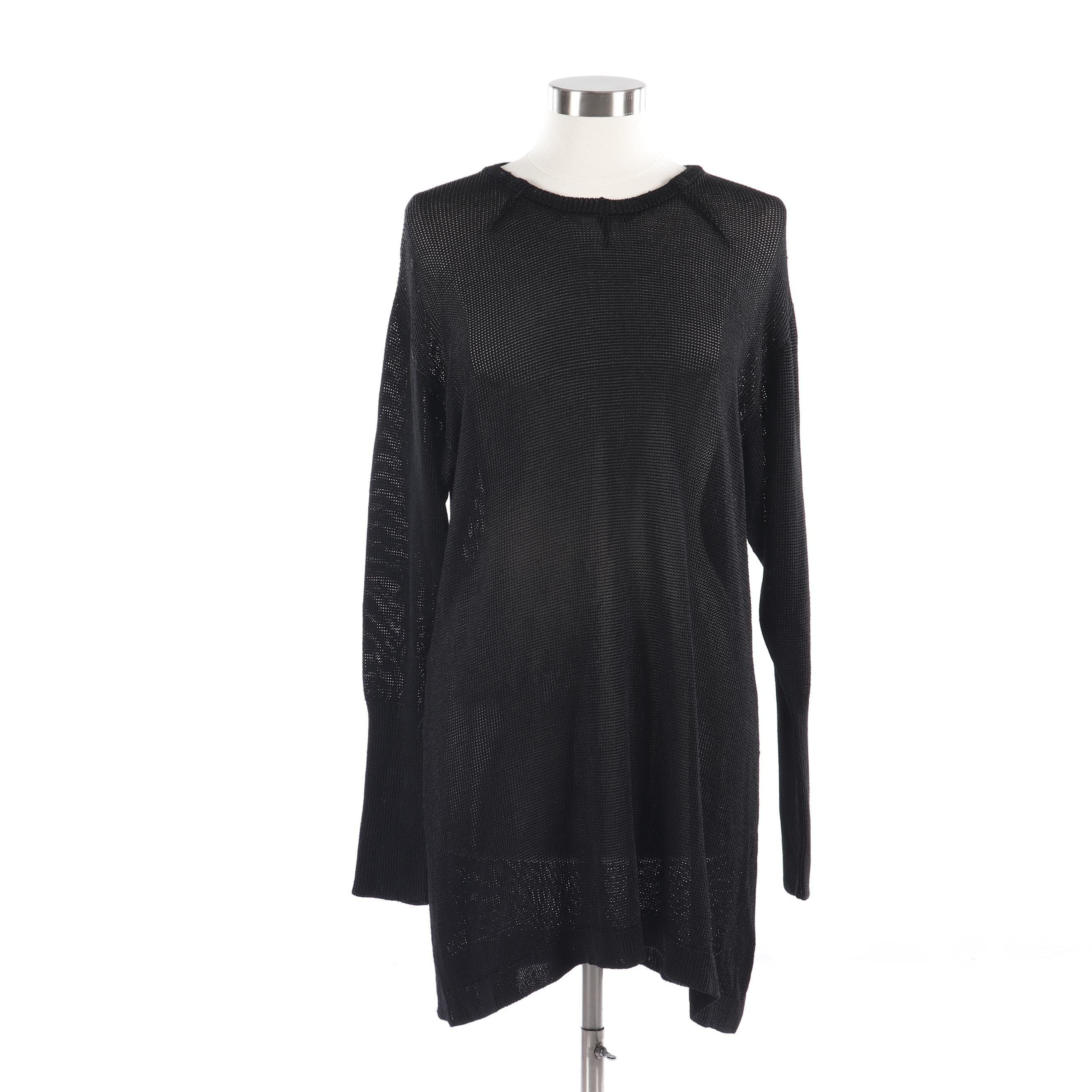 Women's Black Knit Tunic Style Long Sleeve Top