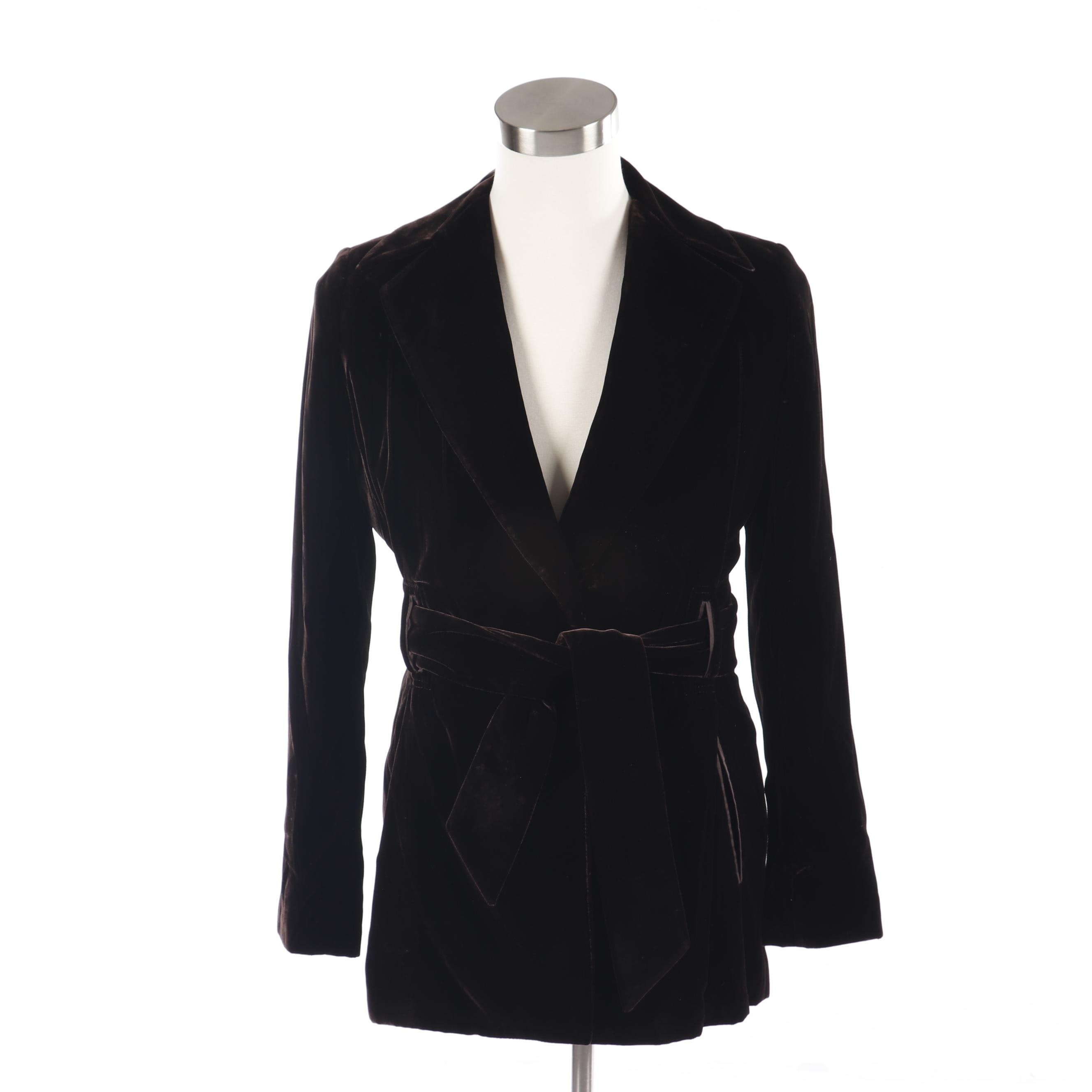 Women's Richard Tyler Collection Dark Brown Velvet Wrap Jacket